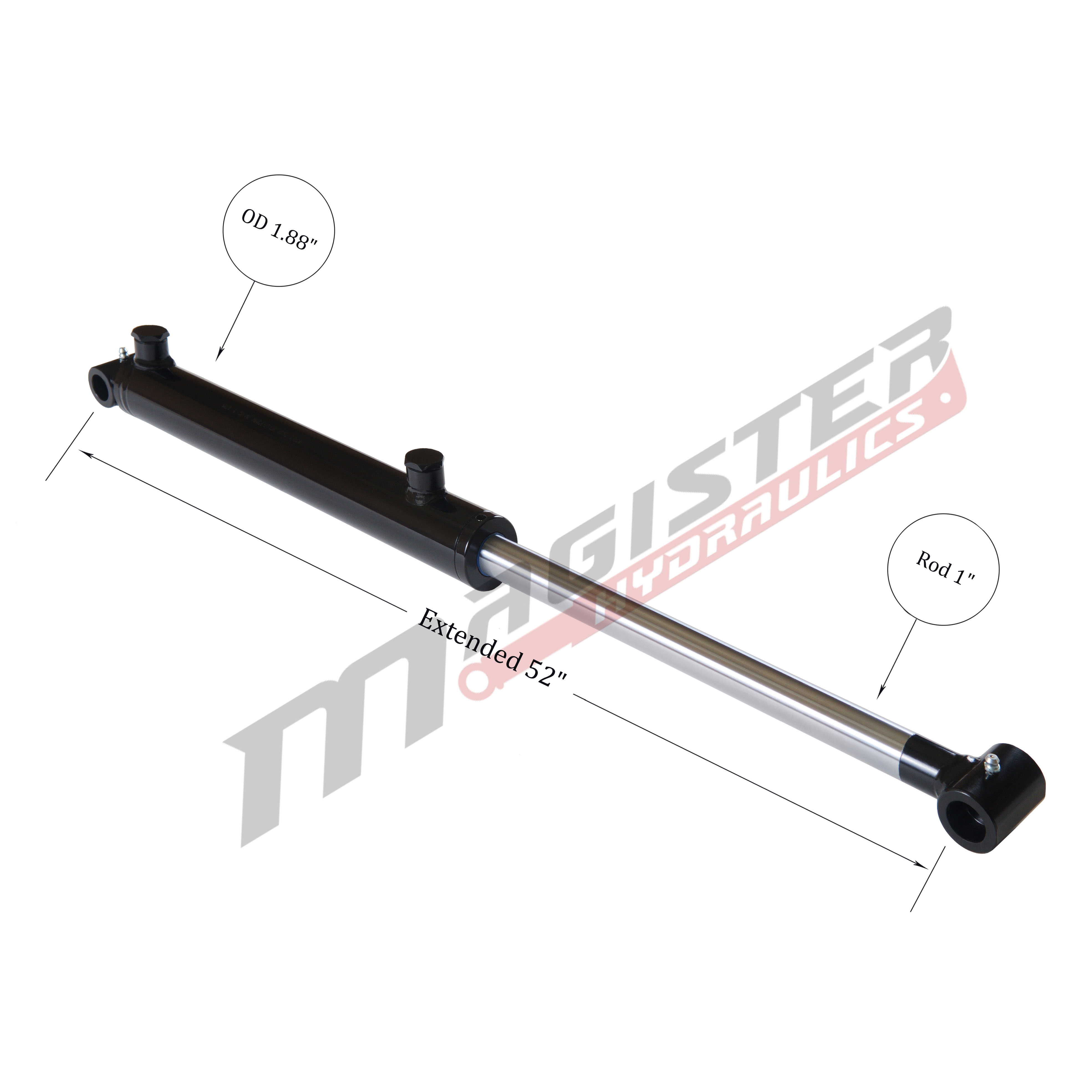 1.5 bore x 22 stroke hydraulic cylinder, welded cross tube double acting cylinder | Magister Hydraulics