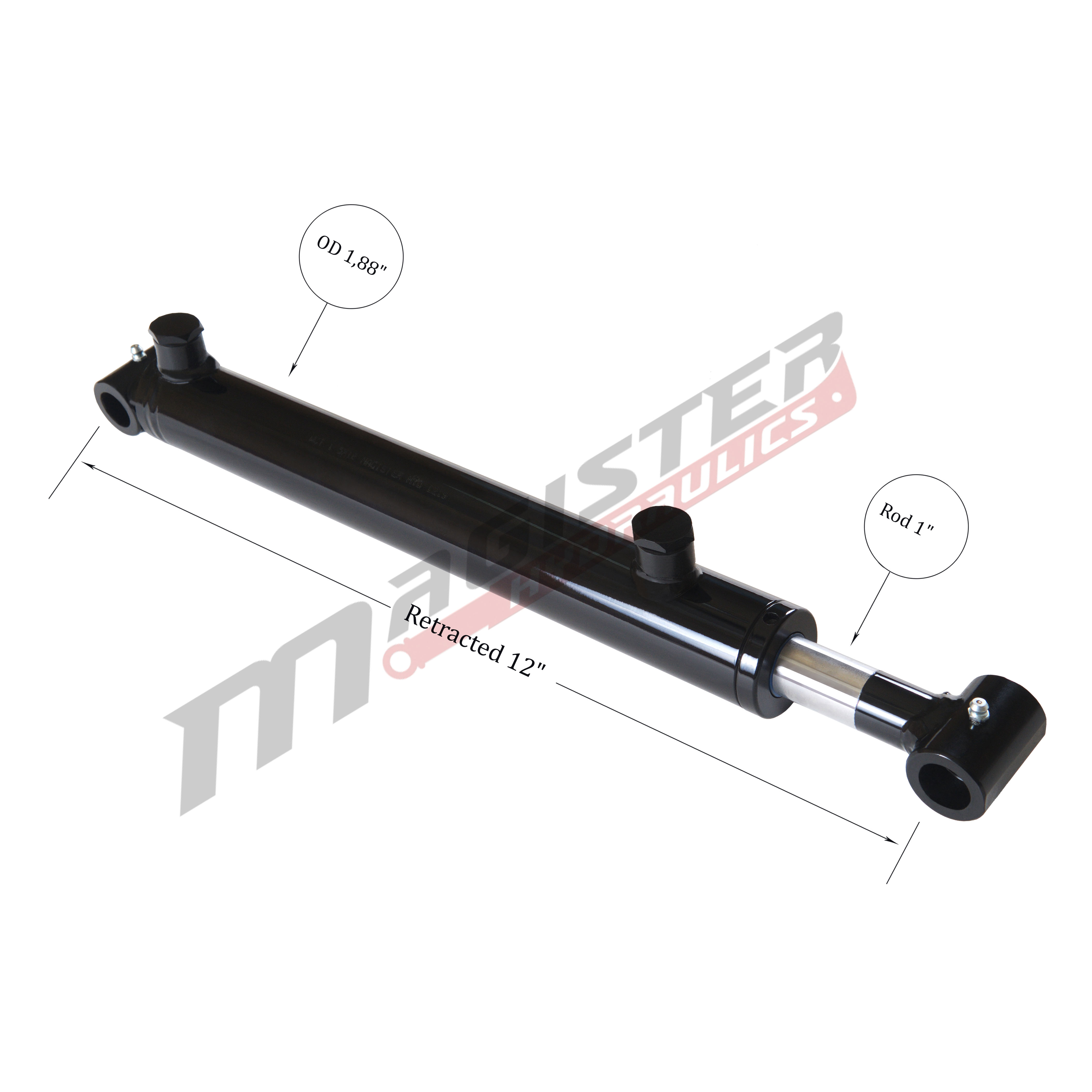 1.5 bore x 4 stroke hydraulic cylinder, welded cross tube double acting cylinder | Magister Hydraulics