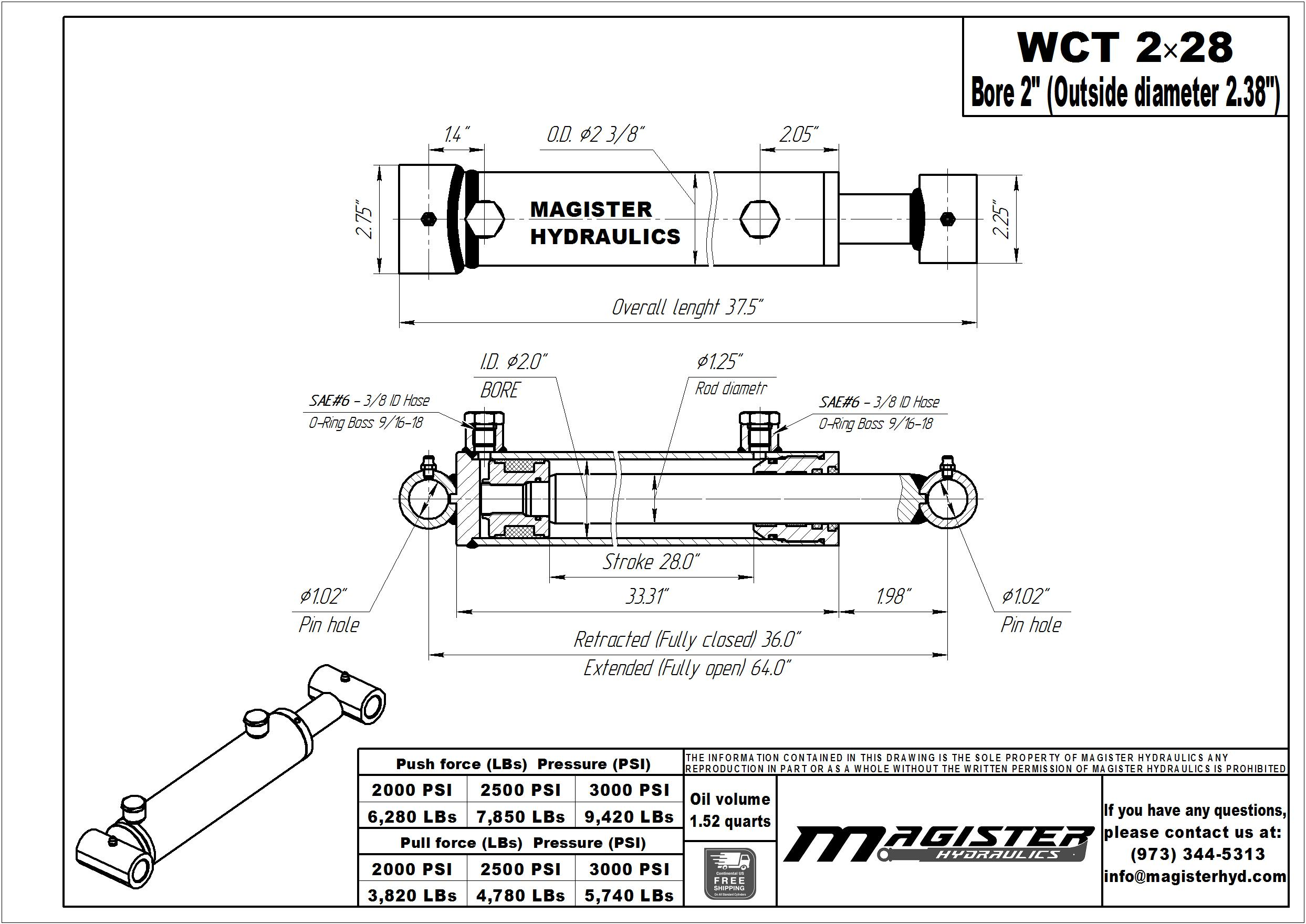 2 bore x 28 stroke hydraulic cylinder, welded cross tube double acting cylinder   Magister Hydraulics
