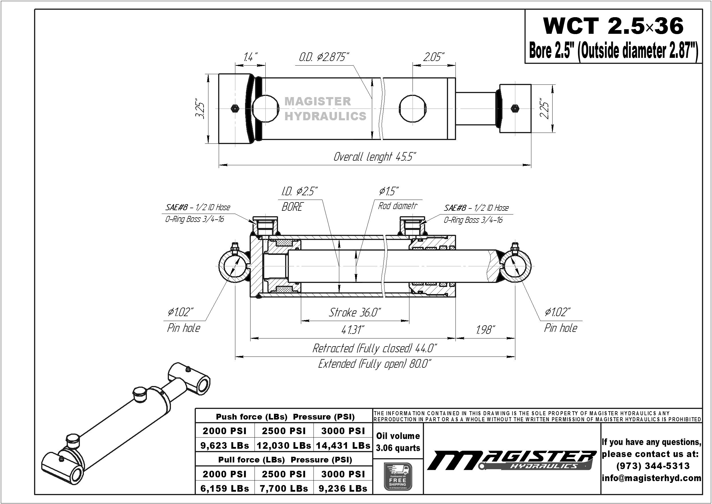 2.5 bore x 36 stroke hydraulic cylinder, welded cross tube double acting cylinder | Magister Hydraulics