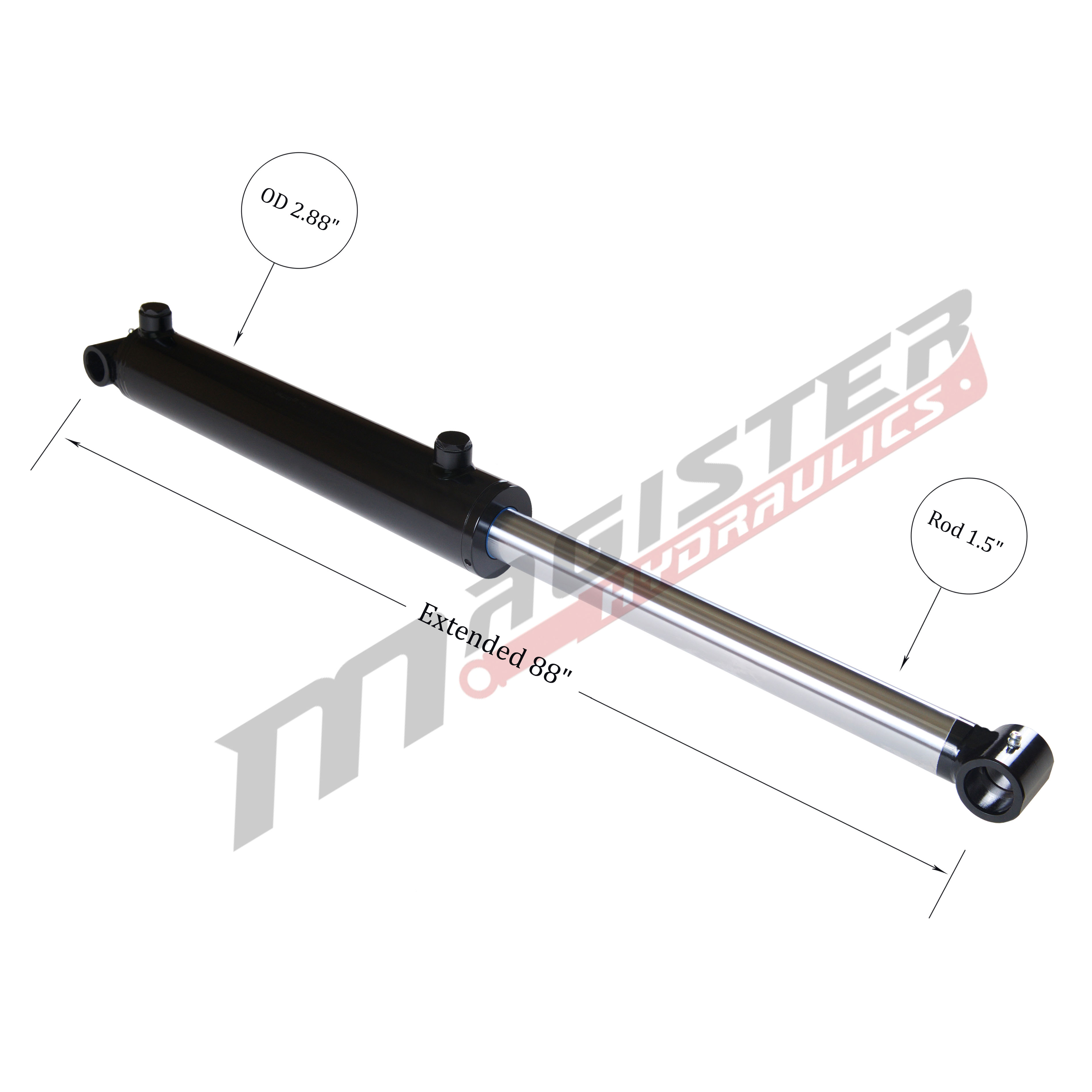 2.5 bore x 40 stroke hydraulic cylinder, welded cross tube double acting cylinder | Magister Hydraulics
