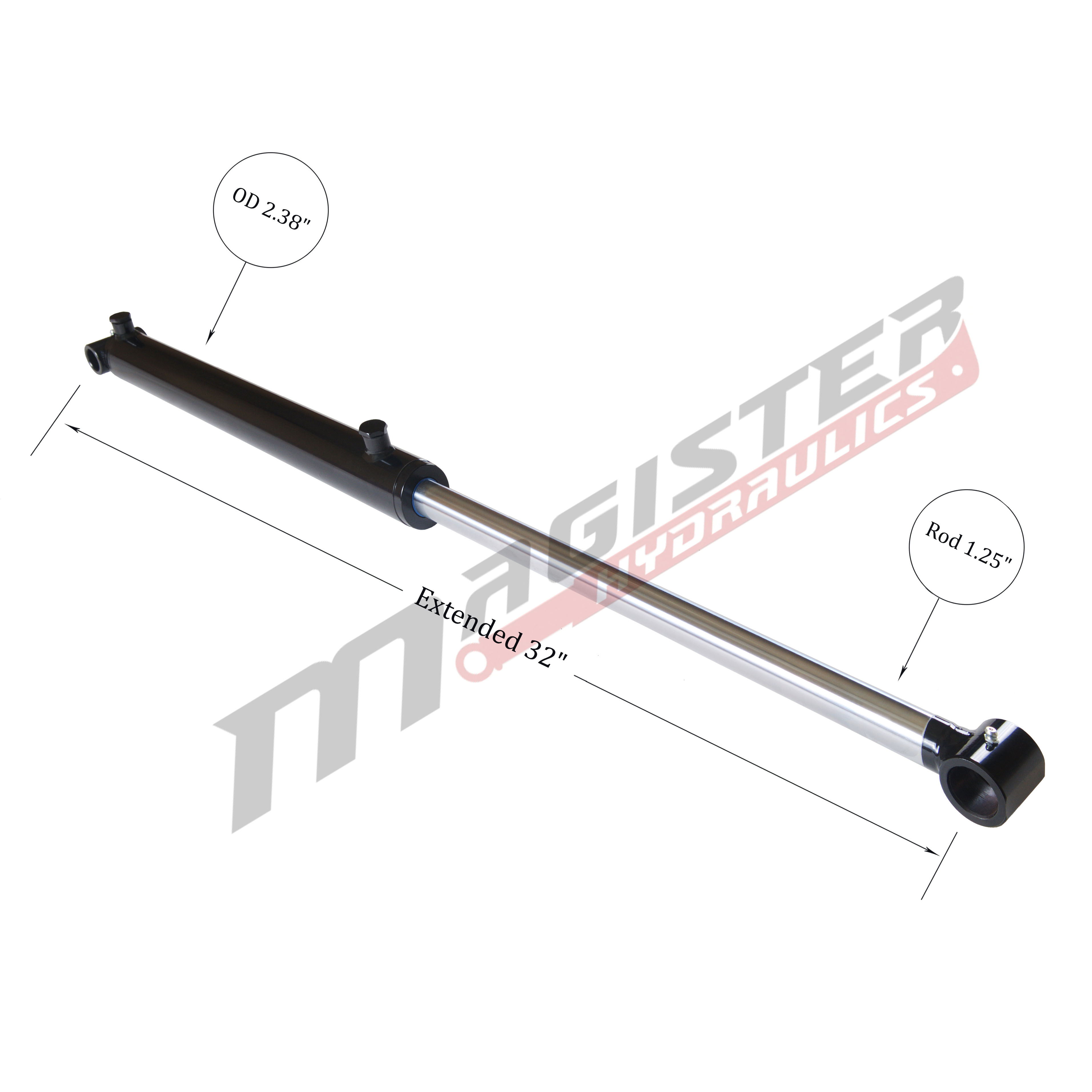 2 bore x 12 stroke hydraulic cylinder, welded cross tube double acting cylinder | Magister Hydraulics