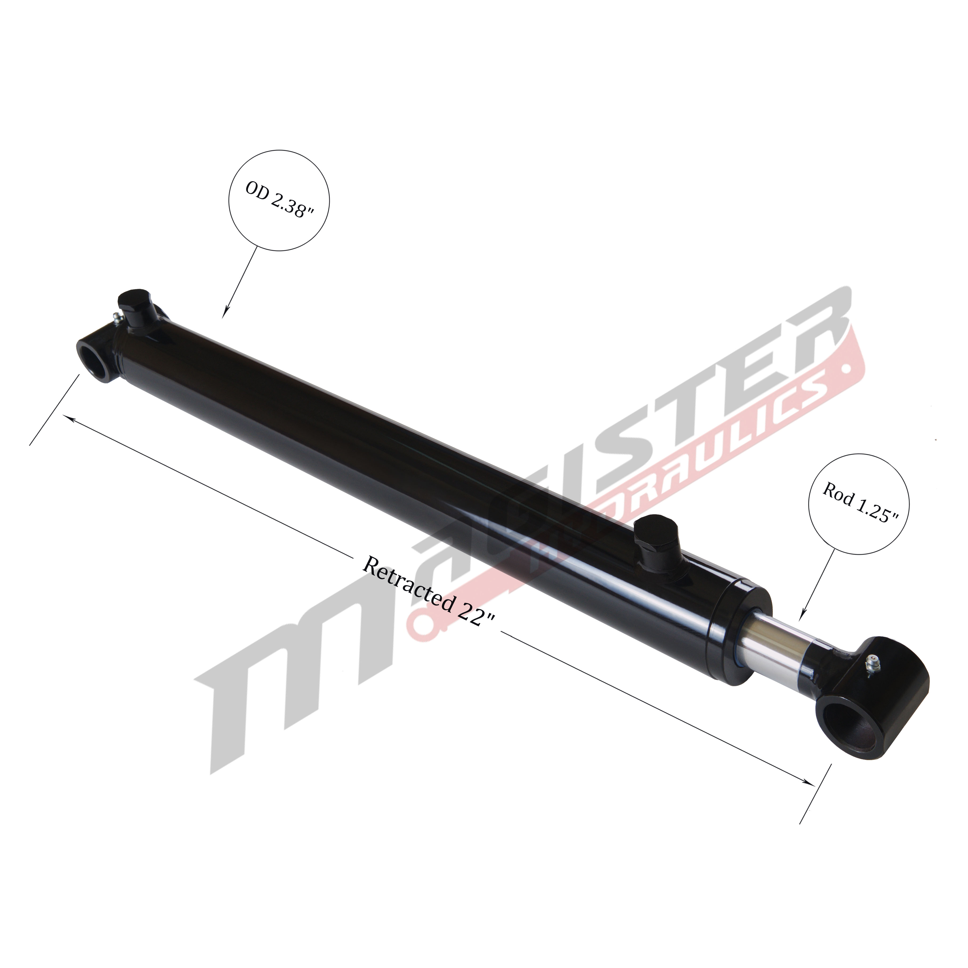 2 bore x 14 stroke hydraulic cylinder, welded cross tube double acting cylinder | Magister Hydraulics