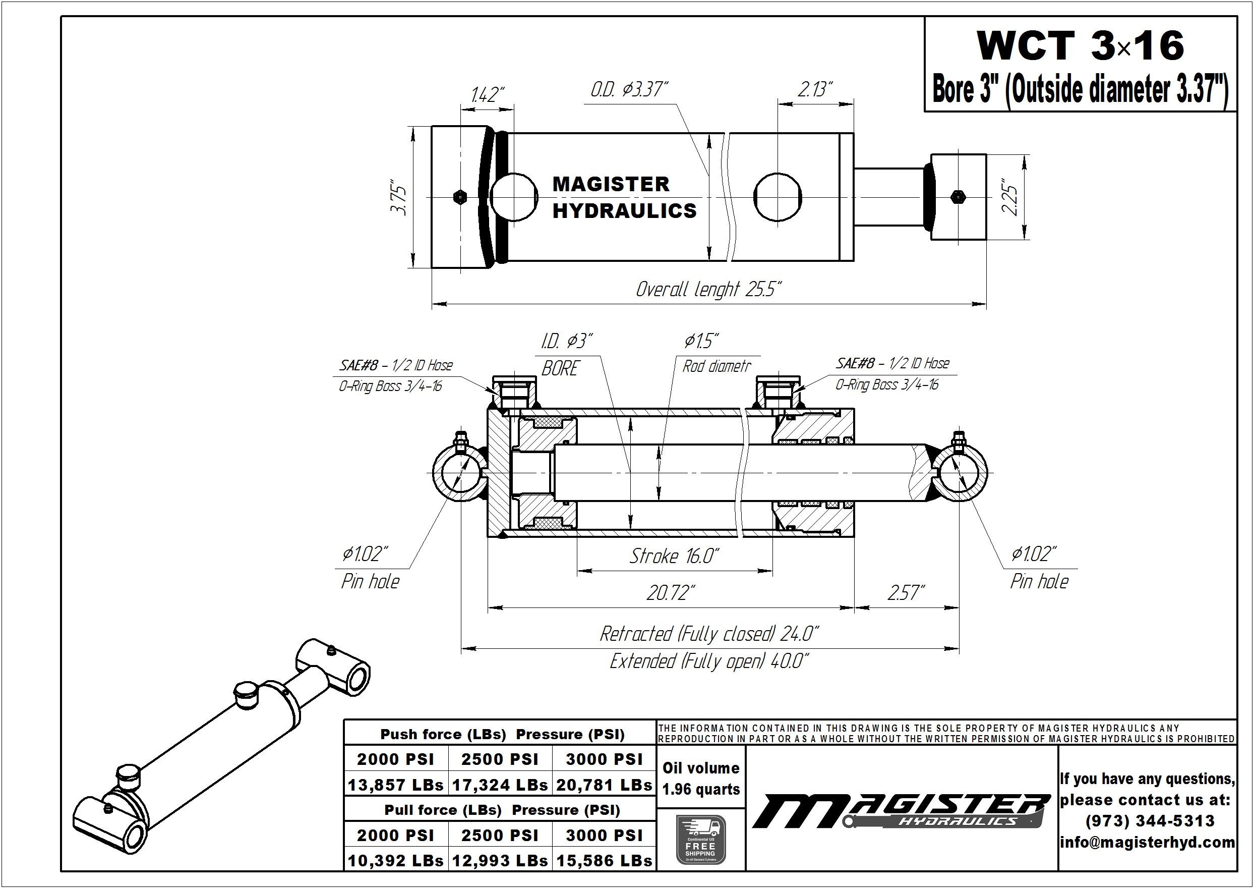 3 bore x 16 stroke hydraulic cylinder, welded cross tube double acting cylinder | Magister Hydraulics