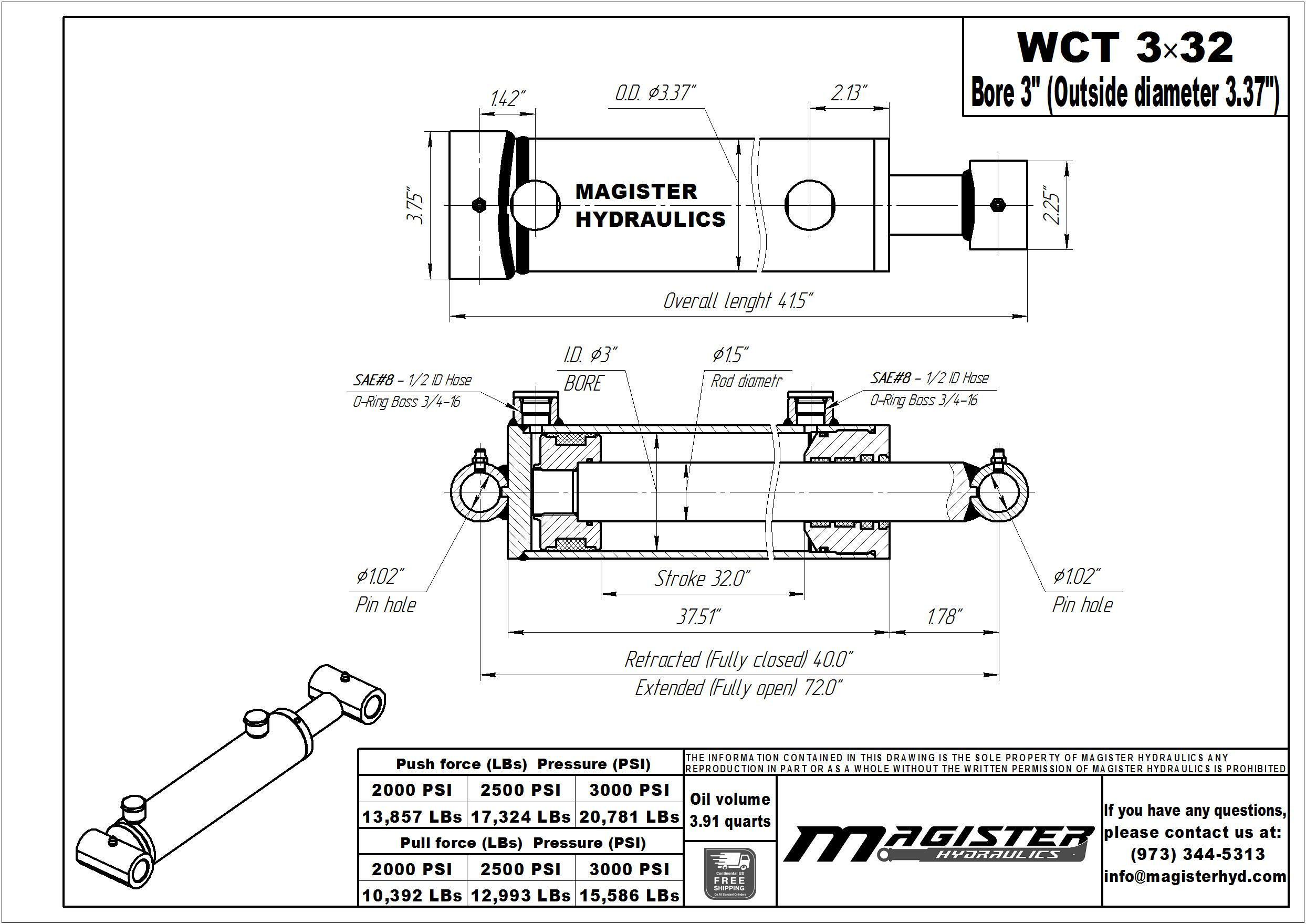 3 bore x 32 stroke hydraulic cylinder, welded cross tube double acting cylinder | Magister Hydraulics