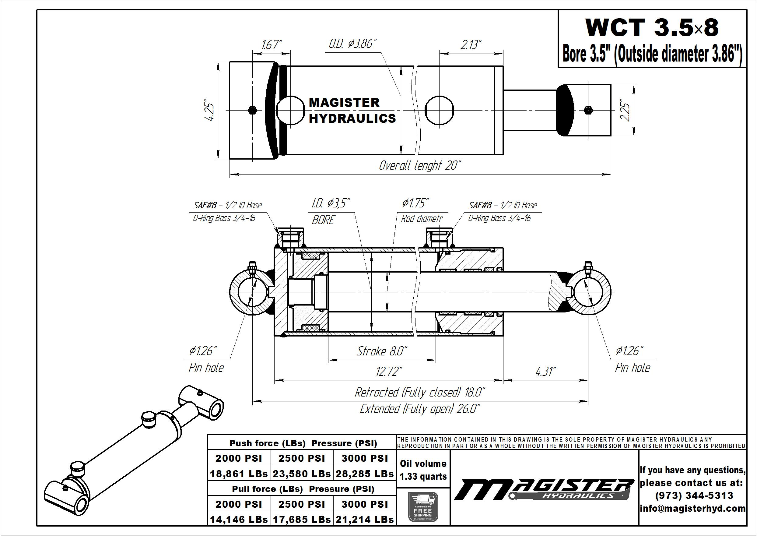 3.5 bore x 8 stroke hydraulic cylinder, welded cross tube double acting cylinder | Magister Hydraulics