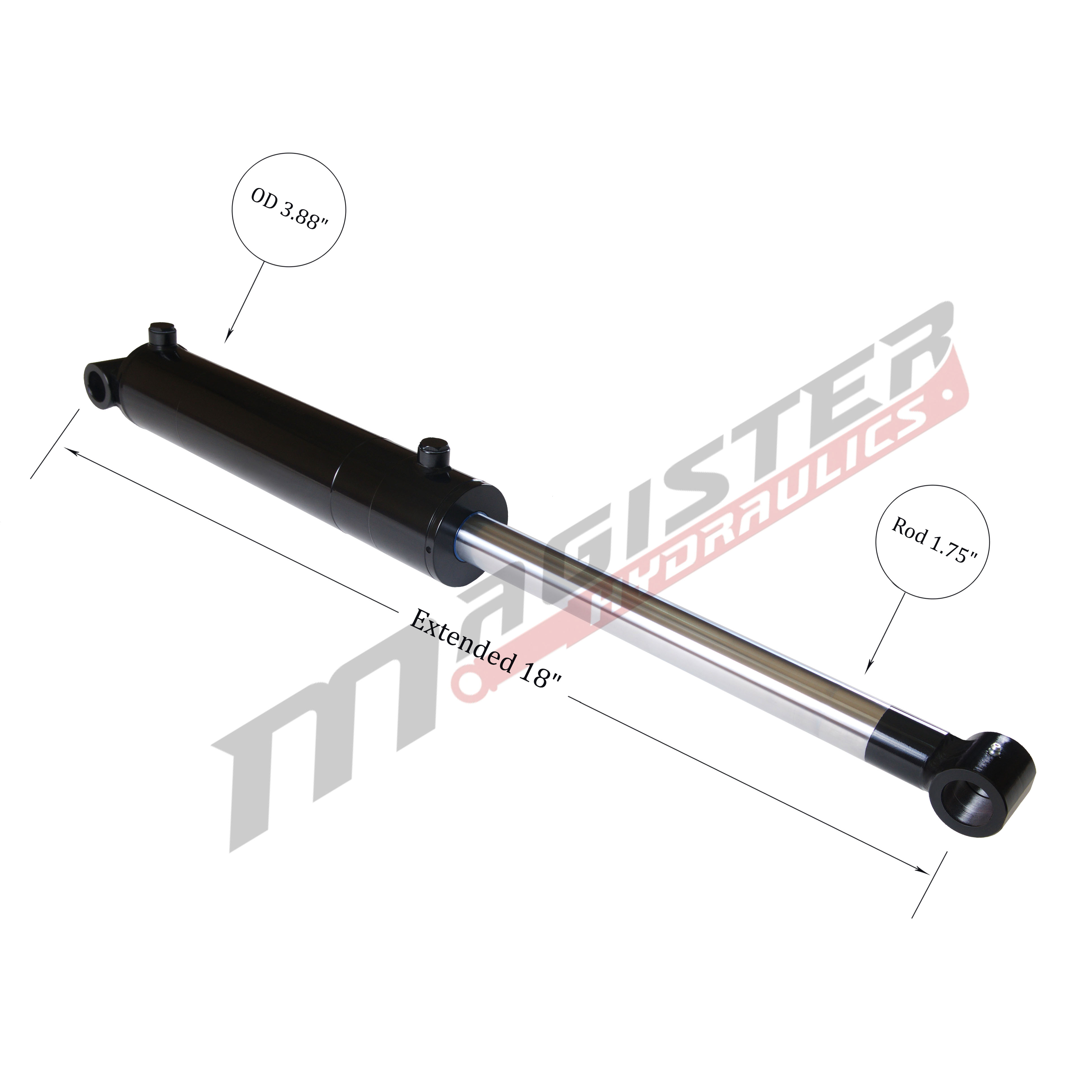 3.5 bore x 4 stroke hydraulic cylinder, welded cross tube double acting cylinder | Magister Hydraulics