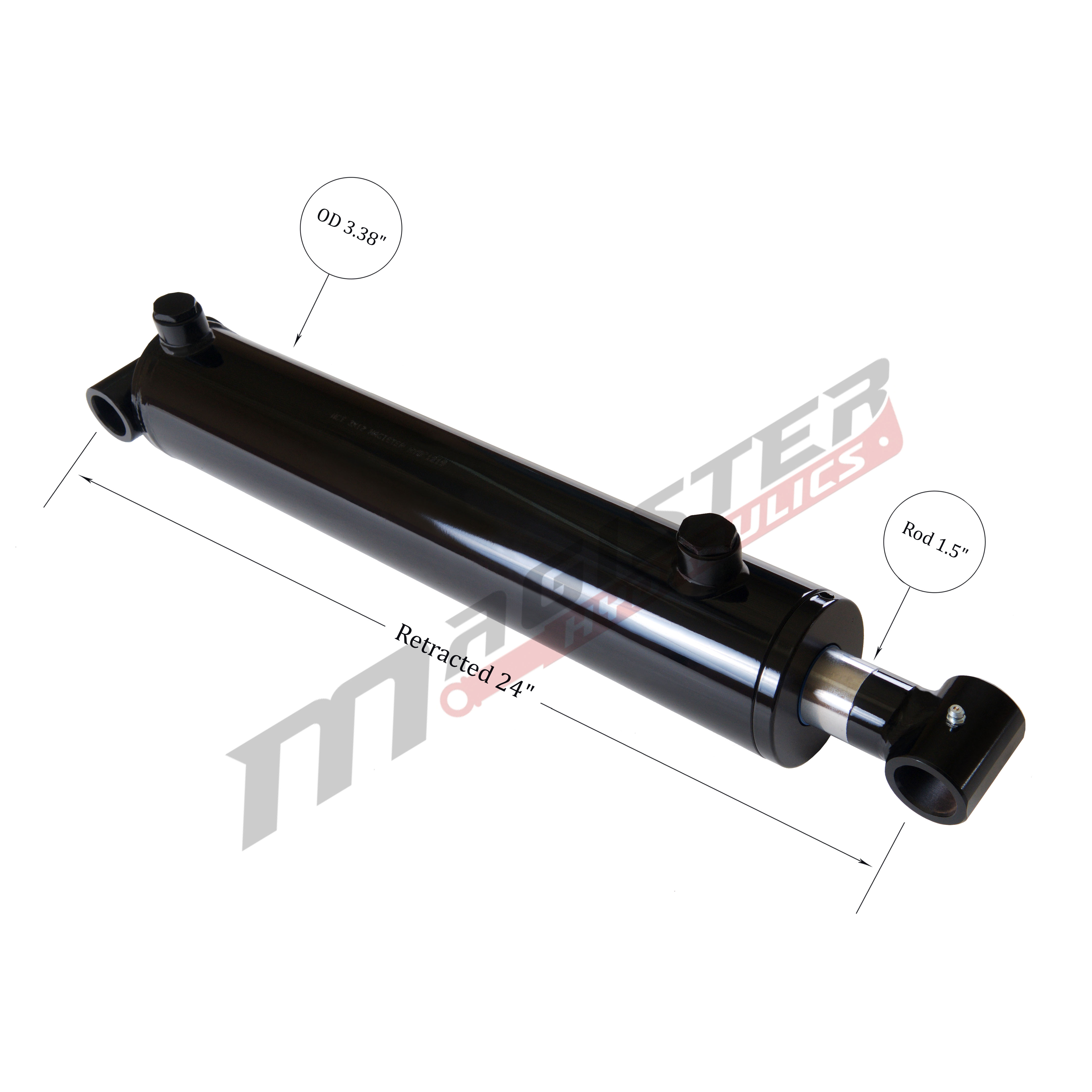 3 bore x 16 stroke hydraulic cylinder, welded cross tube double acting cylinder   Magister Hydraulics
