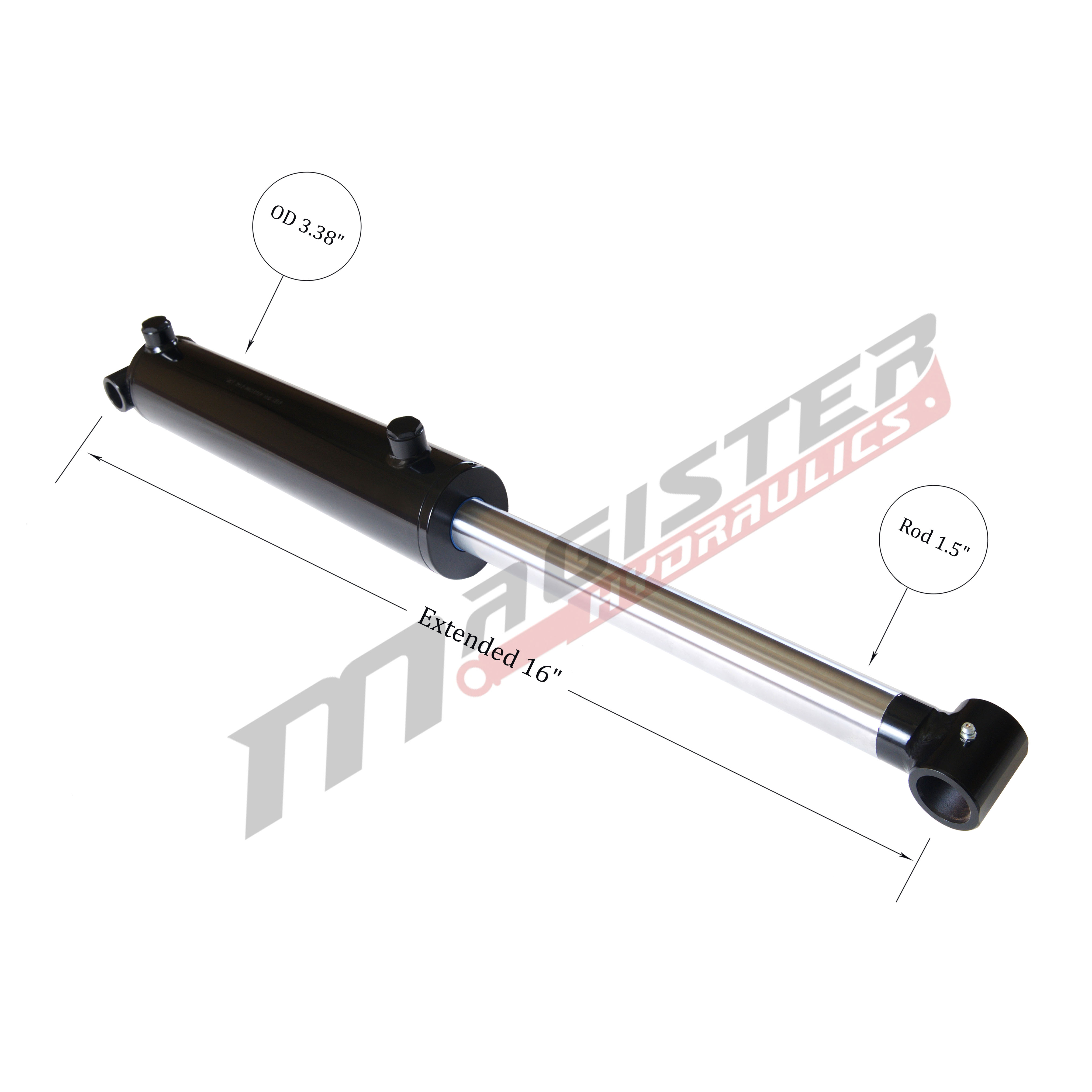 3 bore x 4 stroke hydraulic cylinder, welded cross tube double acting cylinder | Magister Hydraulicsxtended