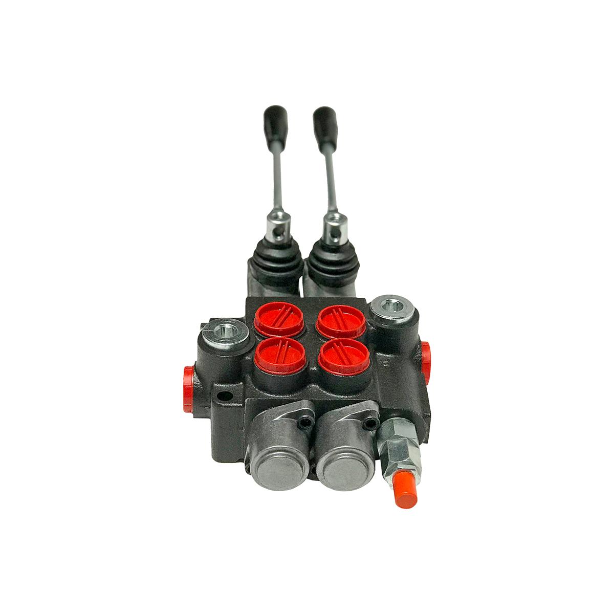 2 spool x 11 GPM hydraulic control valve, monoblock cast iron valve | Magister Hydraulics