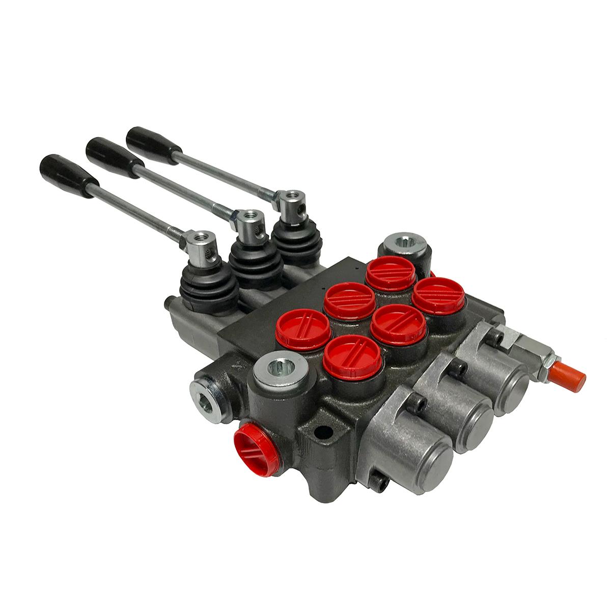 3 spool x 13 GPM hydraulic control valve, monoblock cast iron valve | Magister Hydraulics