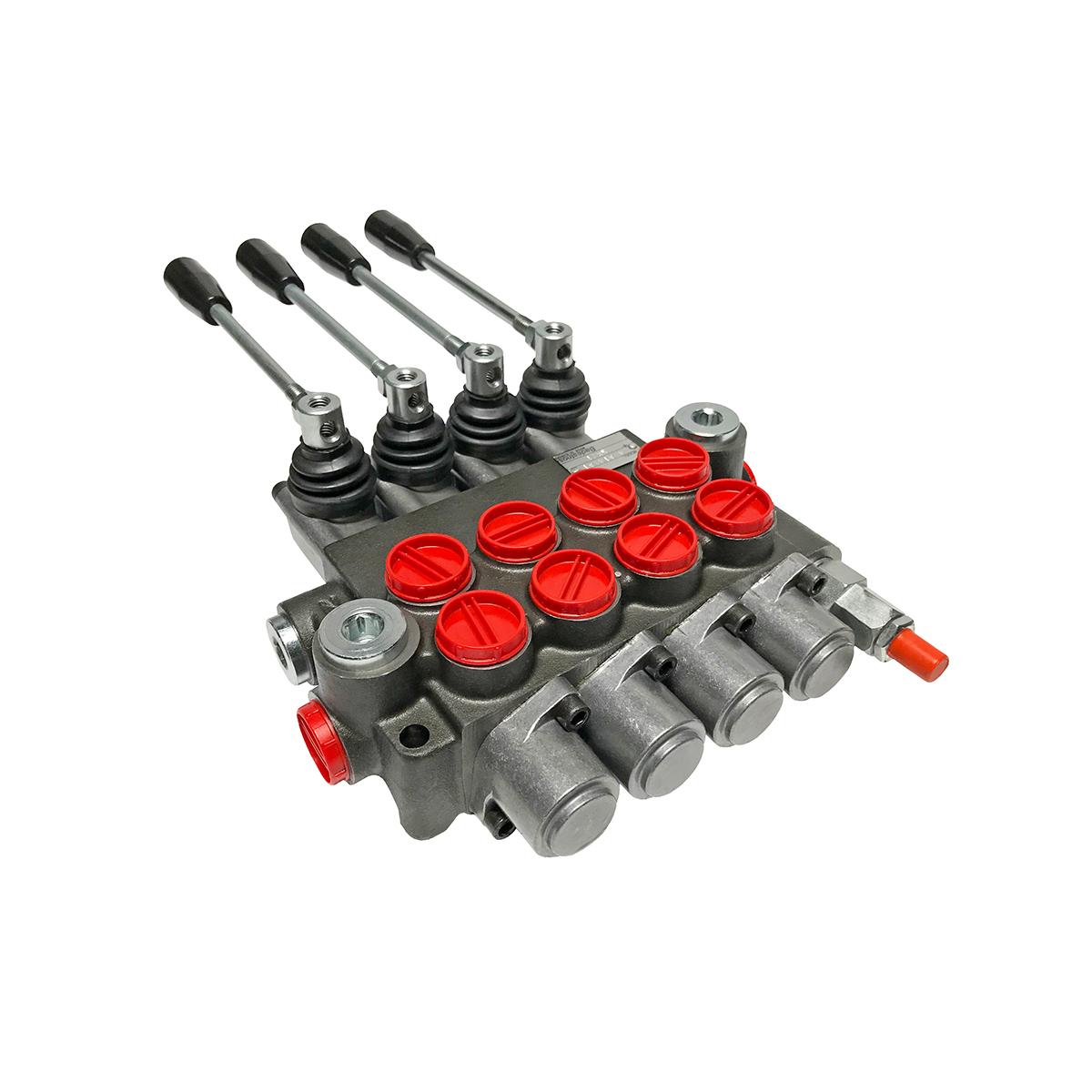 4 spool x 13 GPM hydraulic control valve, monoblock cast iron valve | Magister Hydraulics