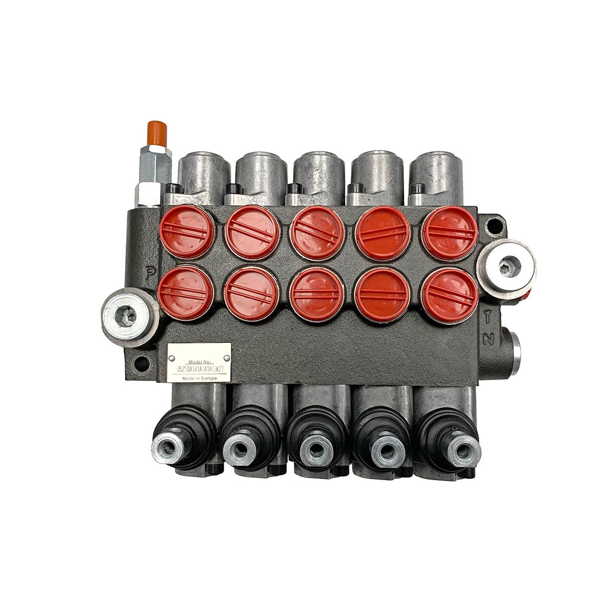 5 spool x 13 GPM hydraulic control valve, monoblock cast iron valve | Magister Hydraulics