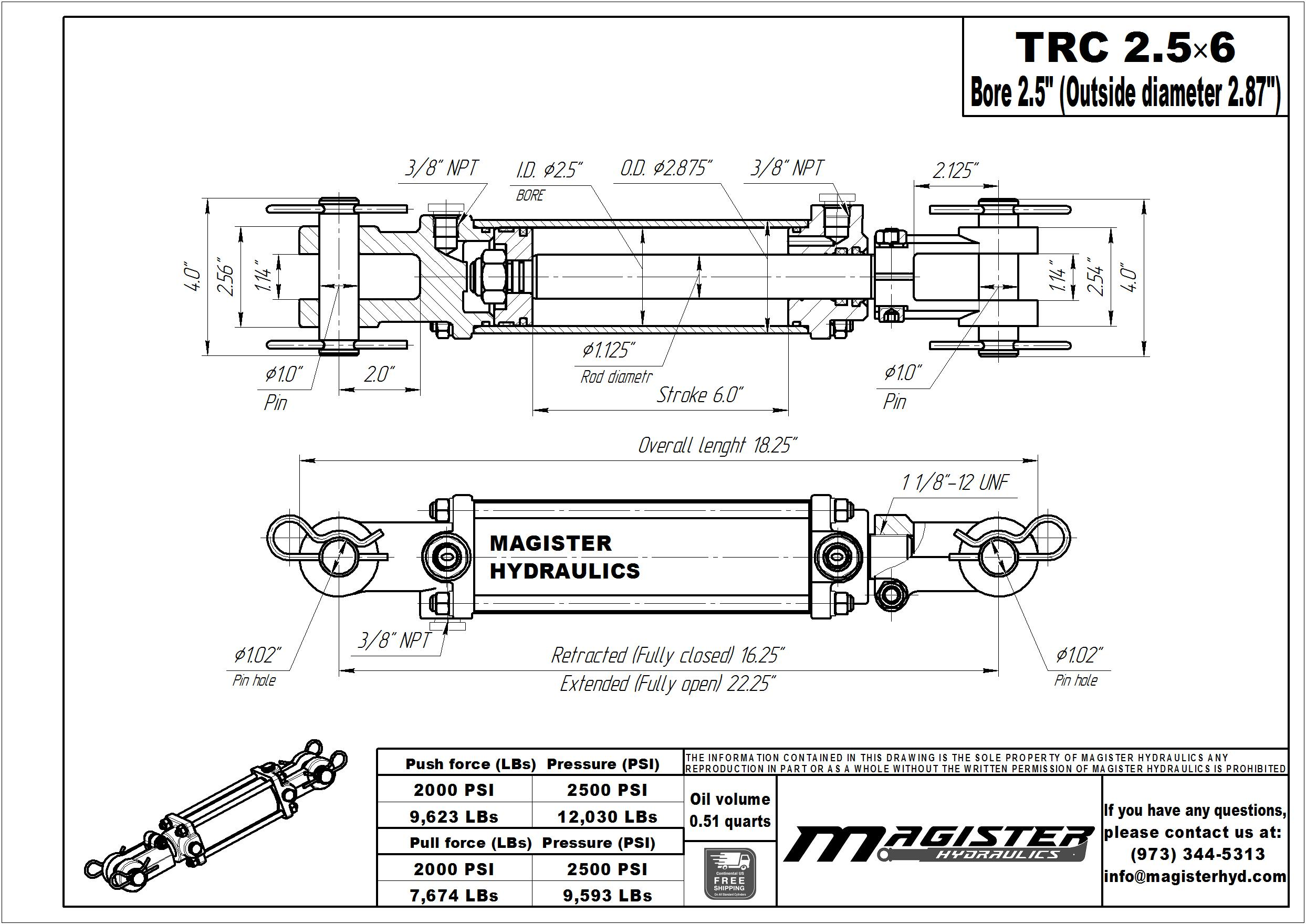 2.5 bore x 6 stroke hydraulic cylinder, tie rod double acting cylinder   Magister Hydraulics