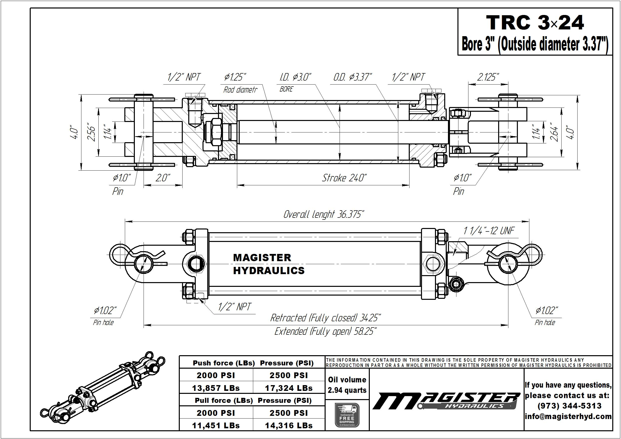 3 bore x 24 stroke hydraulic cylinder, tie rod double acting cylinder | Magister Hydraulics