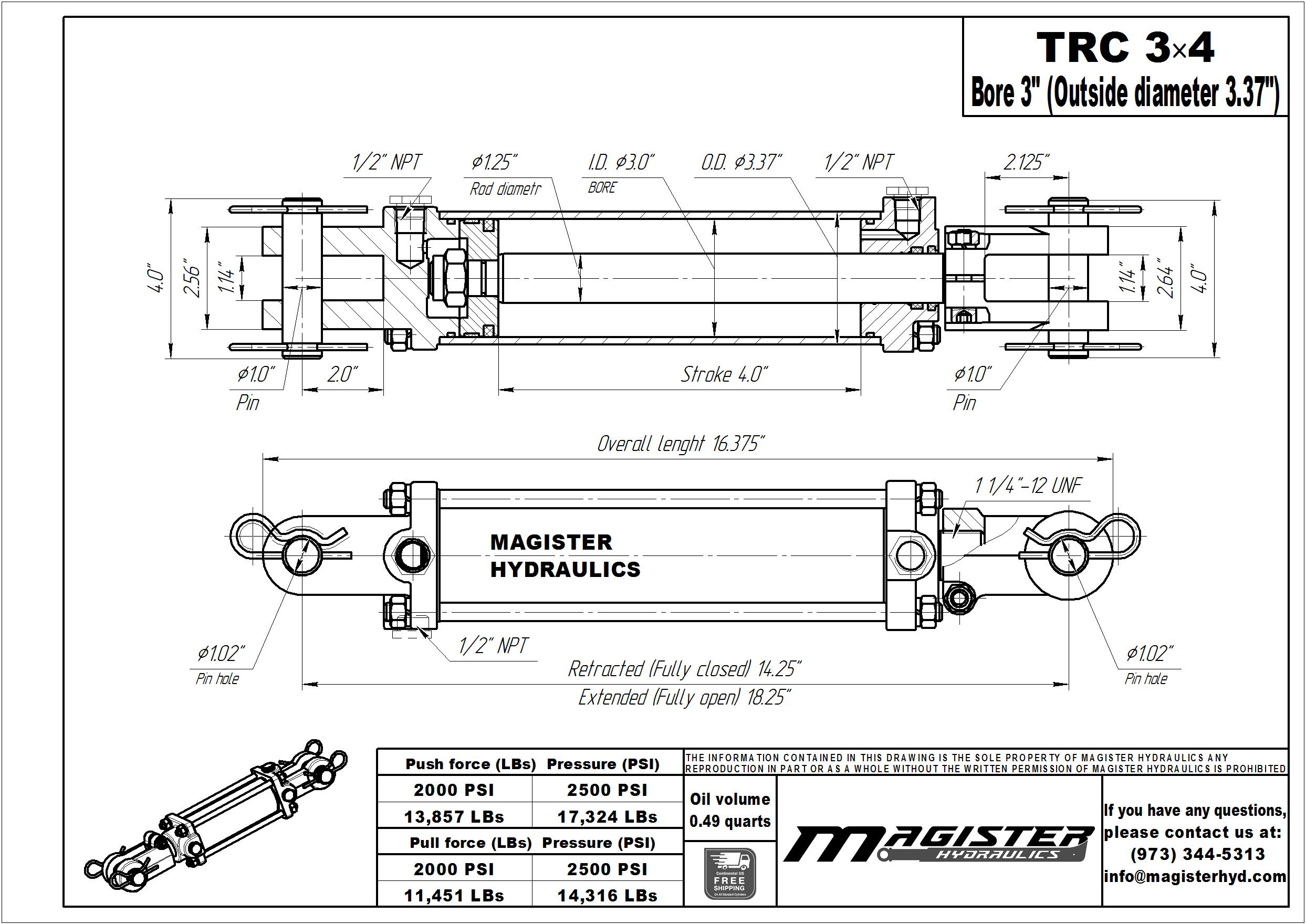 3 bore x 4 stroke hydraulic cylinder, tie rod double acting cylinder | Magister Hydraulics