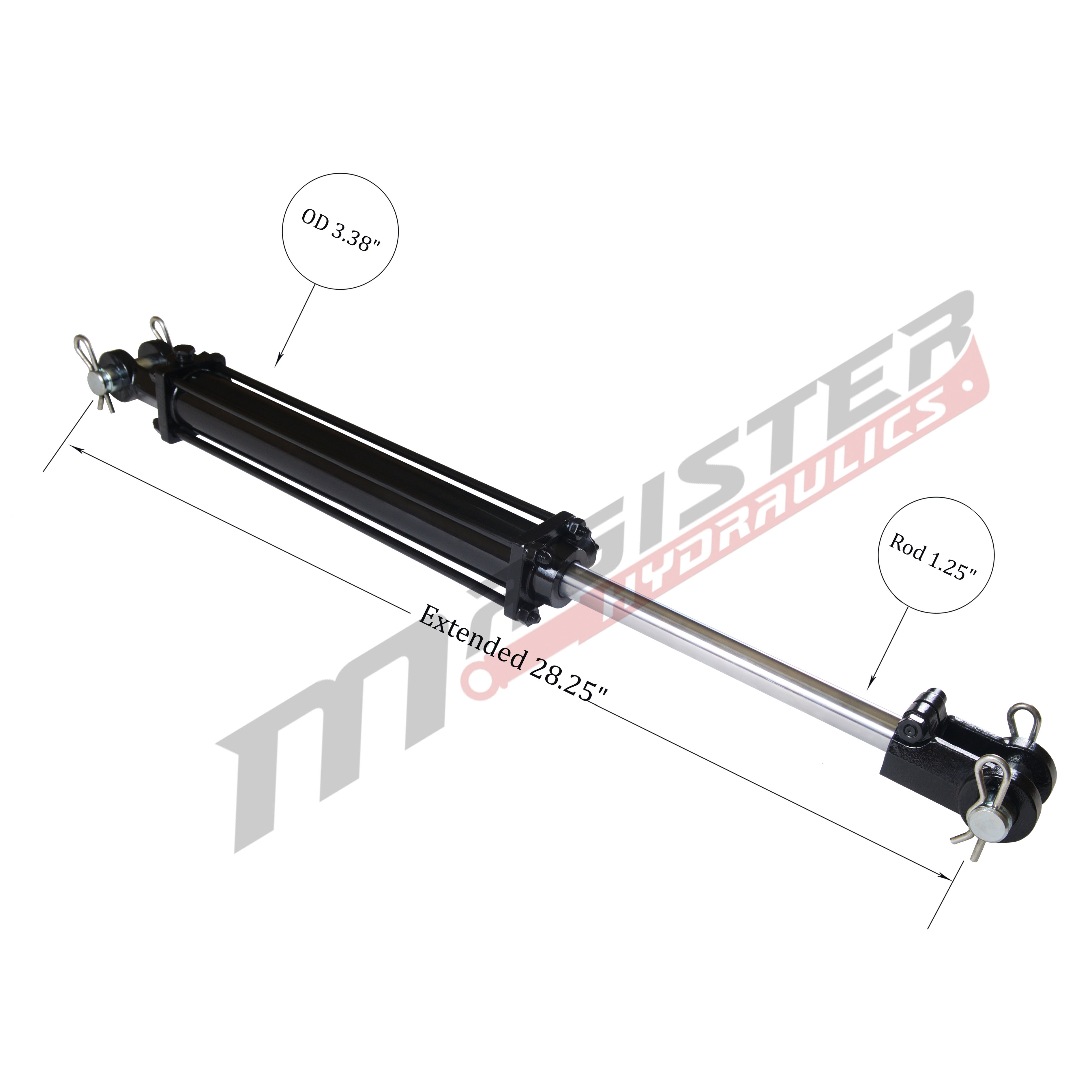 3 bore x 8 ASAE stroke hydraulic cylinder, tie rod double acting cylinder | Magister Hydraulics