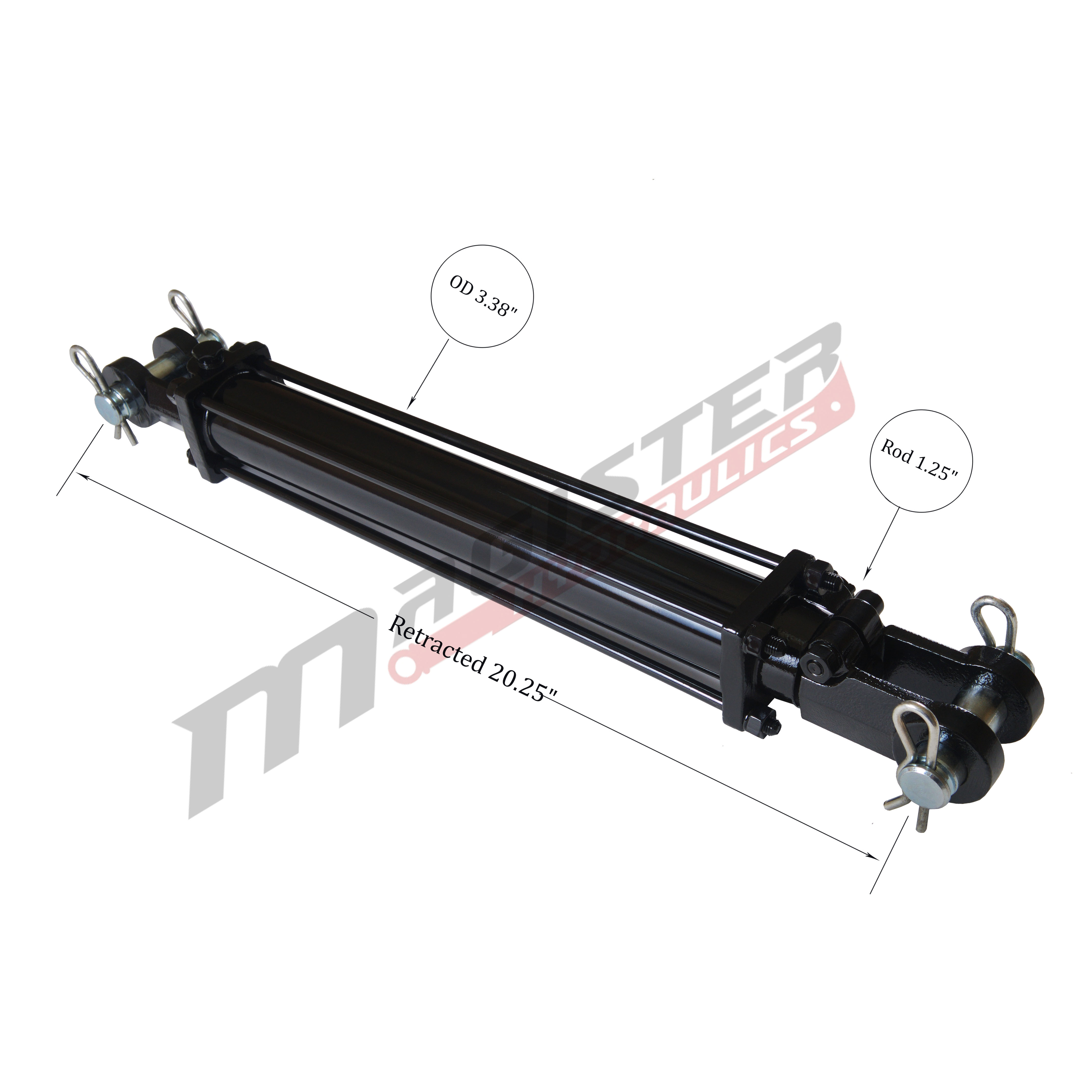 3 bore x 8 ASAE stroke hydraulic cylinder, tie rod double acting cylinder   Magister Hydraulics