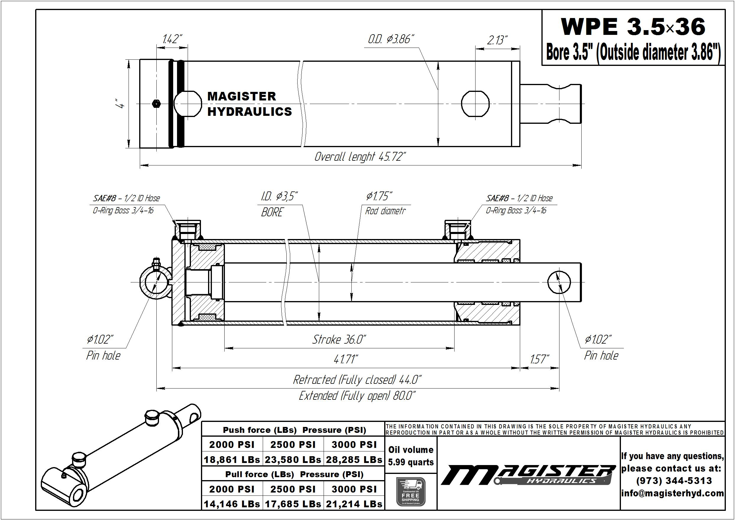 3.5 bore x 36 stroke hydraulic cylinder, welded pin eye double acting cylinder | Magister Hydraulics