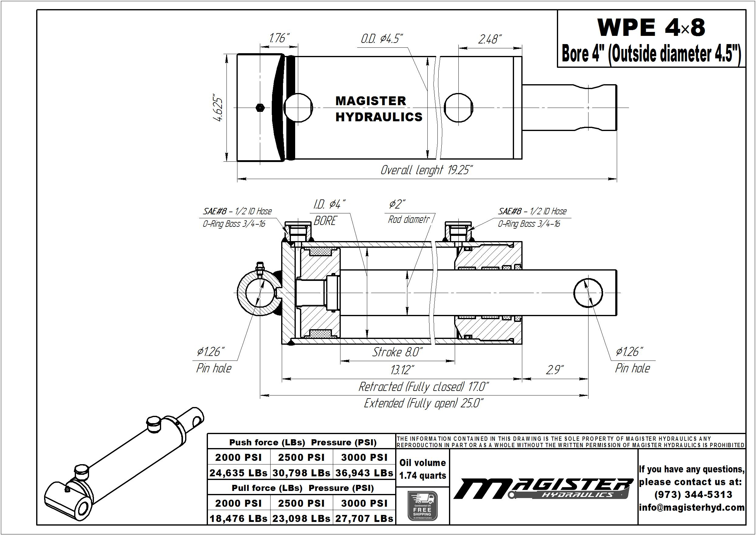 4 bore x 8 stroke hydraulic cylinder, welded pin eye double acting cylinder | Magister Hydraulics