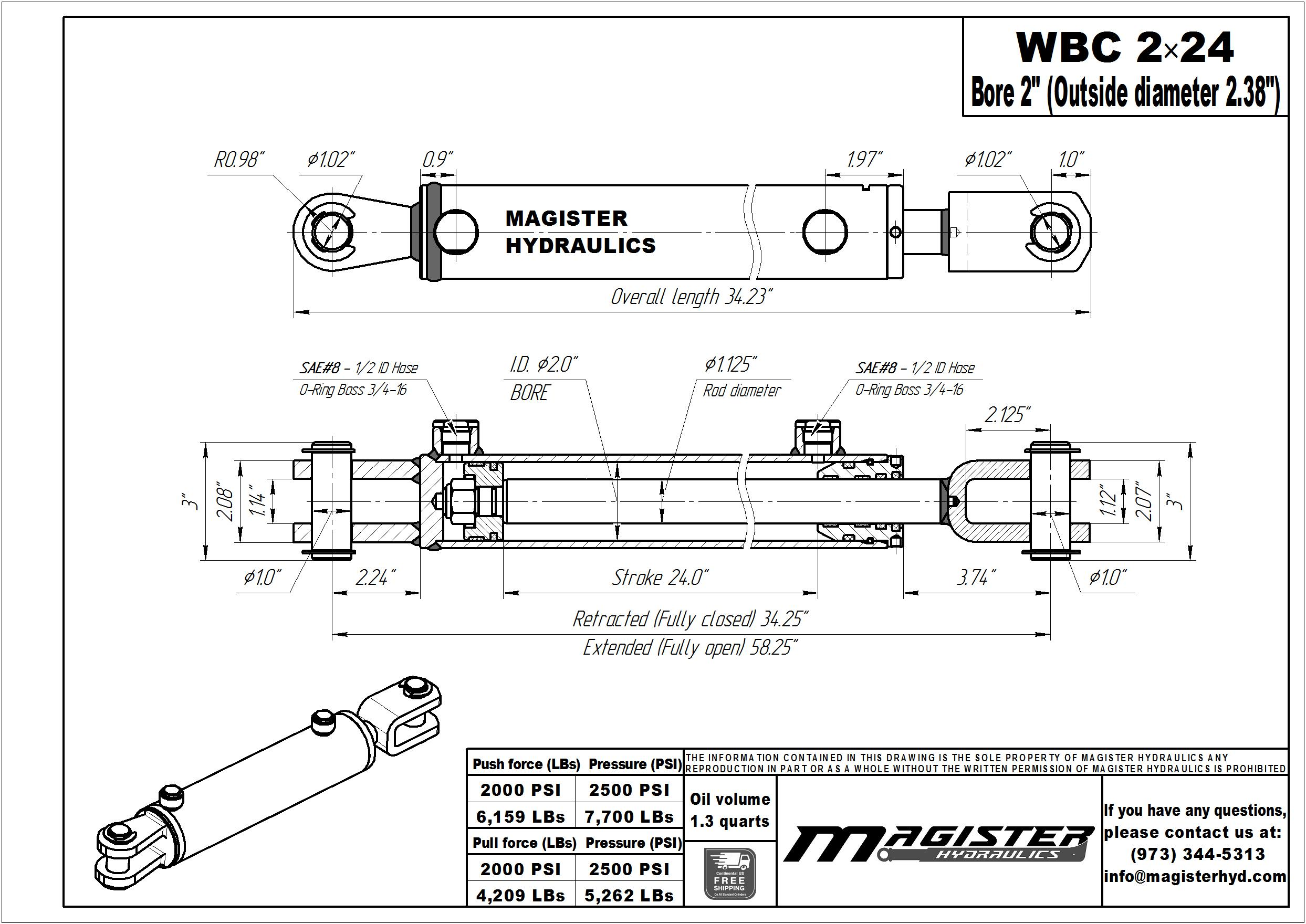 2 bore x 24 stroke hydraulic cylinder, ag clevis double acting cylinder   Magister Hydraulics
