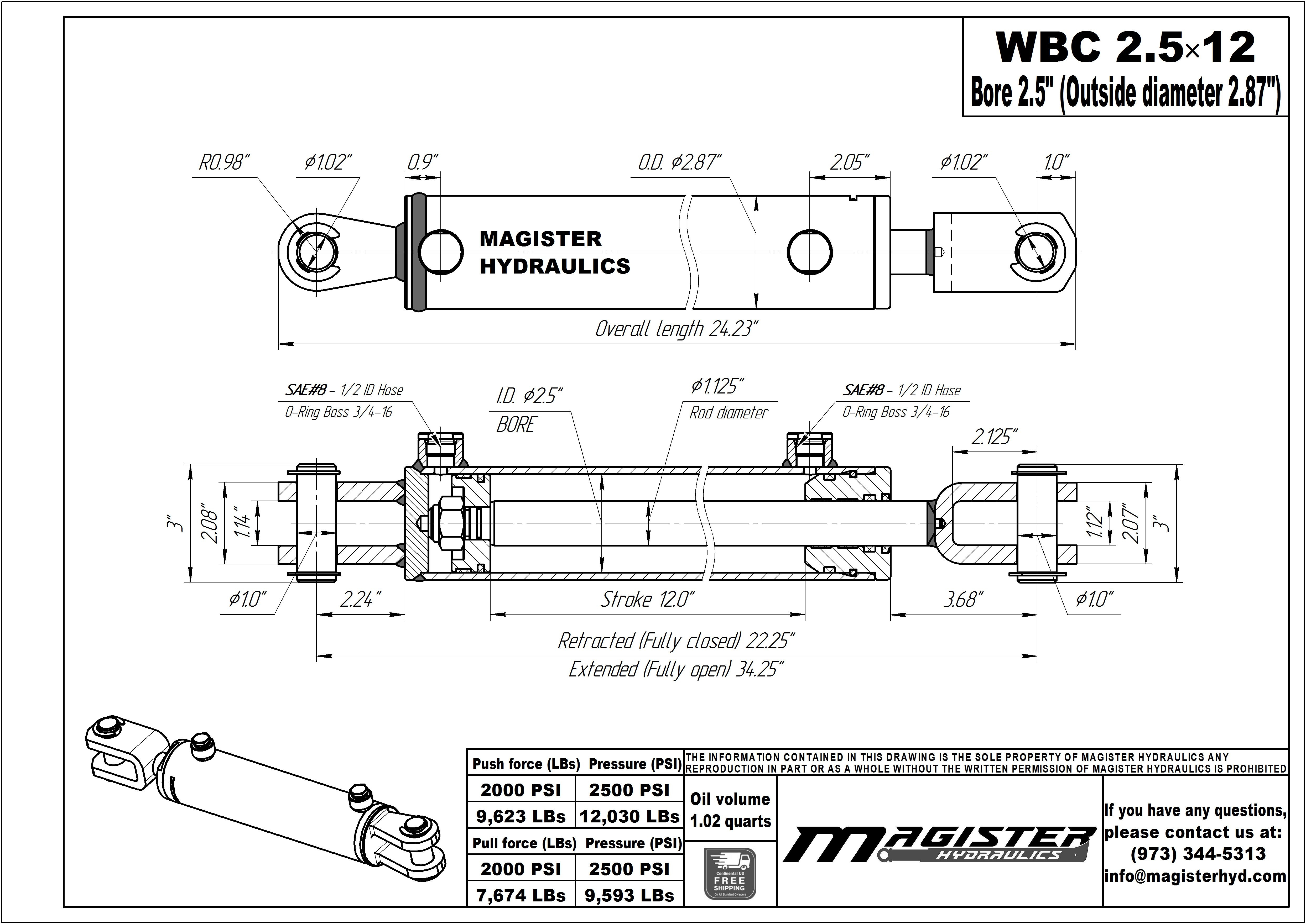 2.5 bore x 12 stroke hydraulic cylinder, ag clevis double acting cylinder | Magister Hydraulics