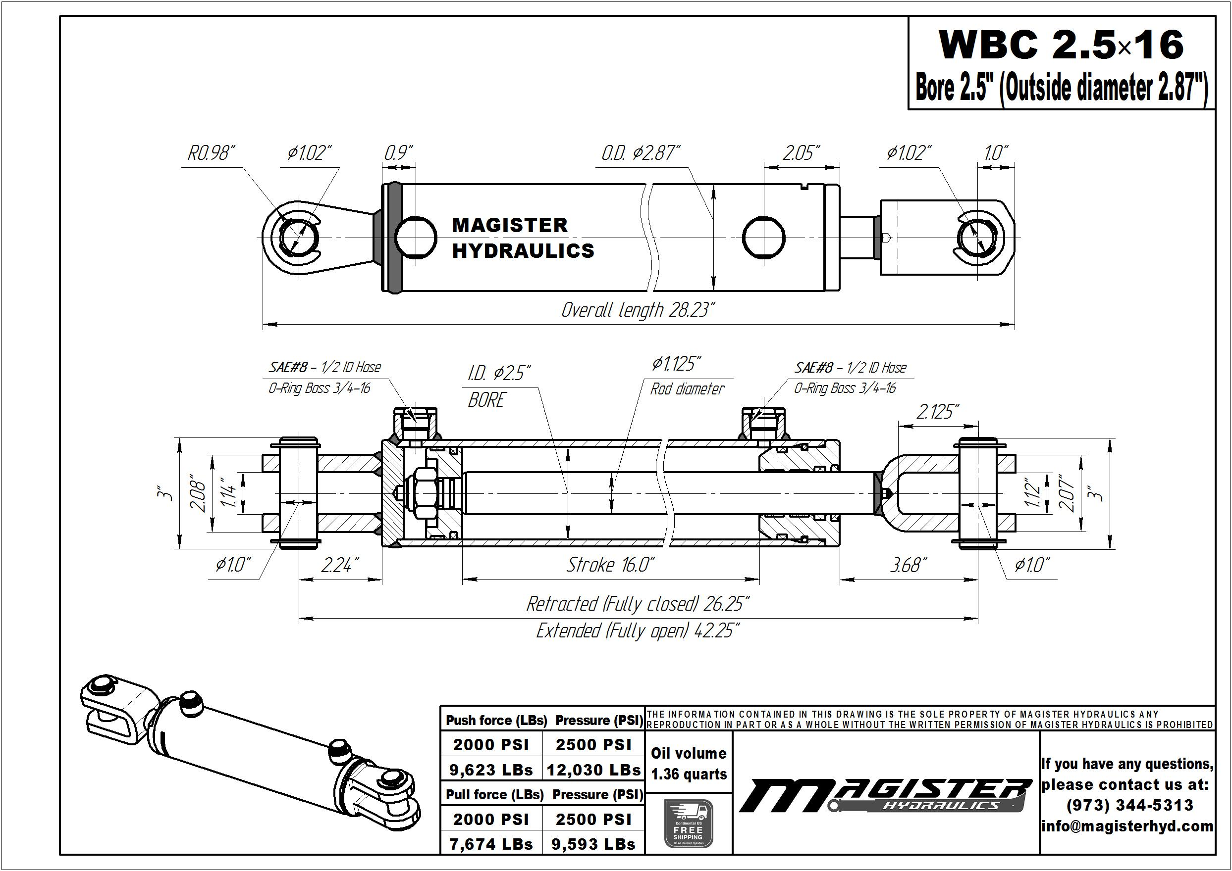 2.5 bore x 16 stroke hydraulic cylinder, ag clevis double acting cylinder | Magister Hydraulics