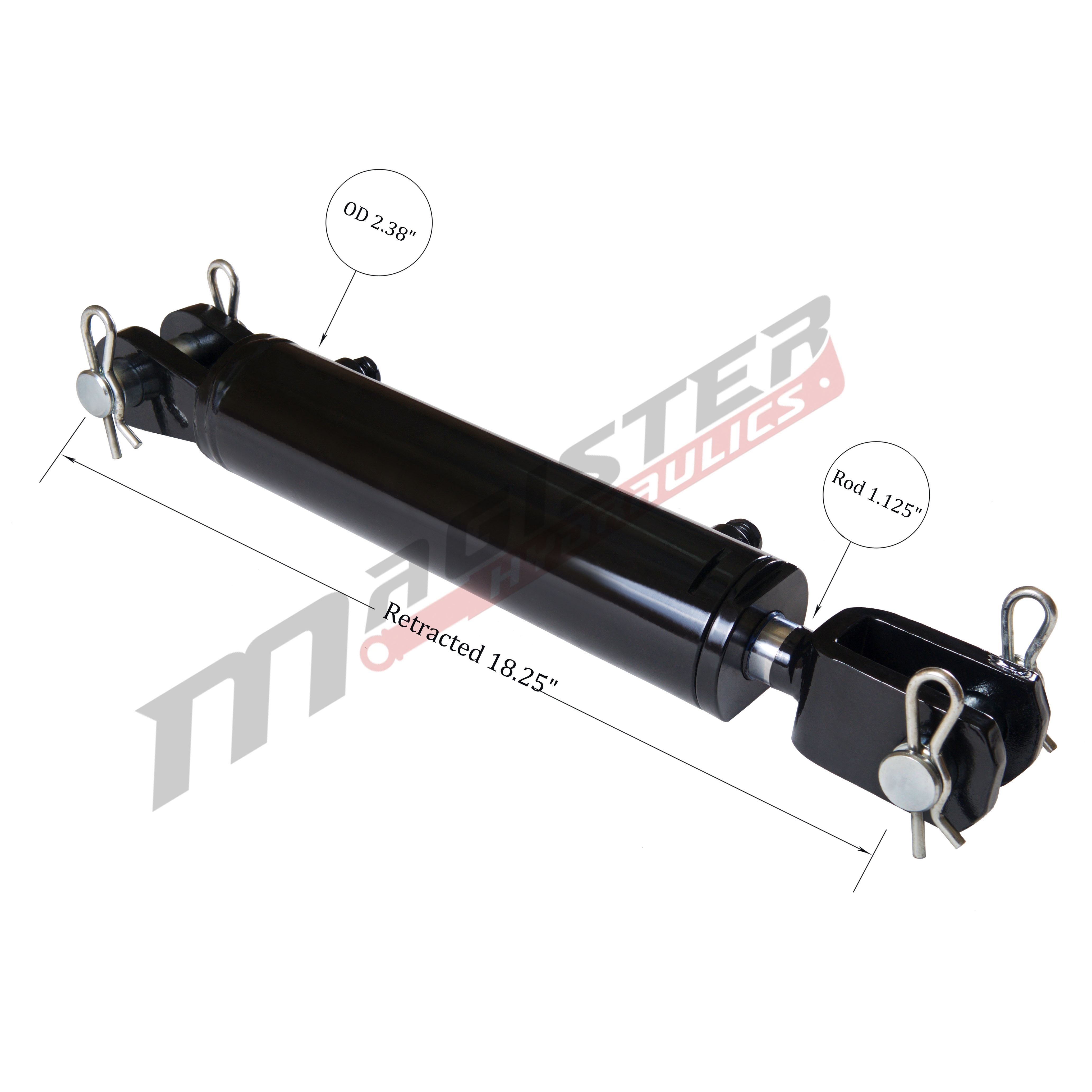 2 bore x 8 stroke hydraulic cylinder, ag clevis double acting cylinder   Magister Hydraulics