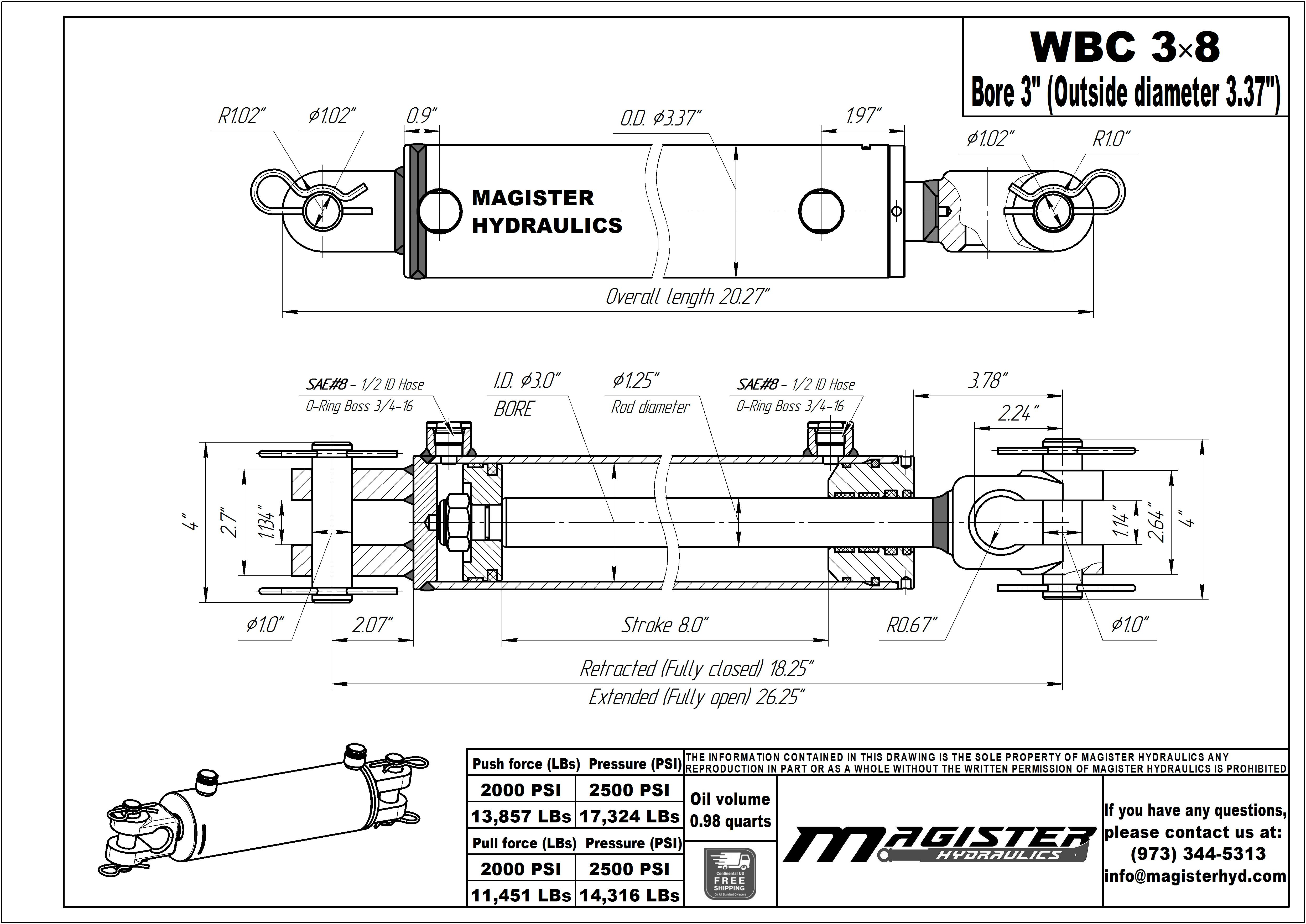 3 bore x 8 stroke hydraulic cylinder, ag clevis double acting cylinder | Magister Hydraulics