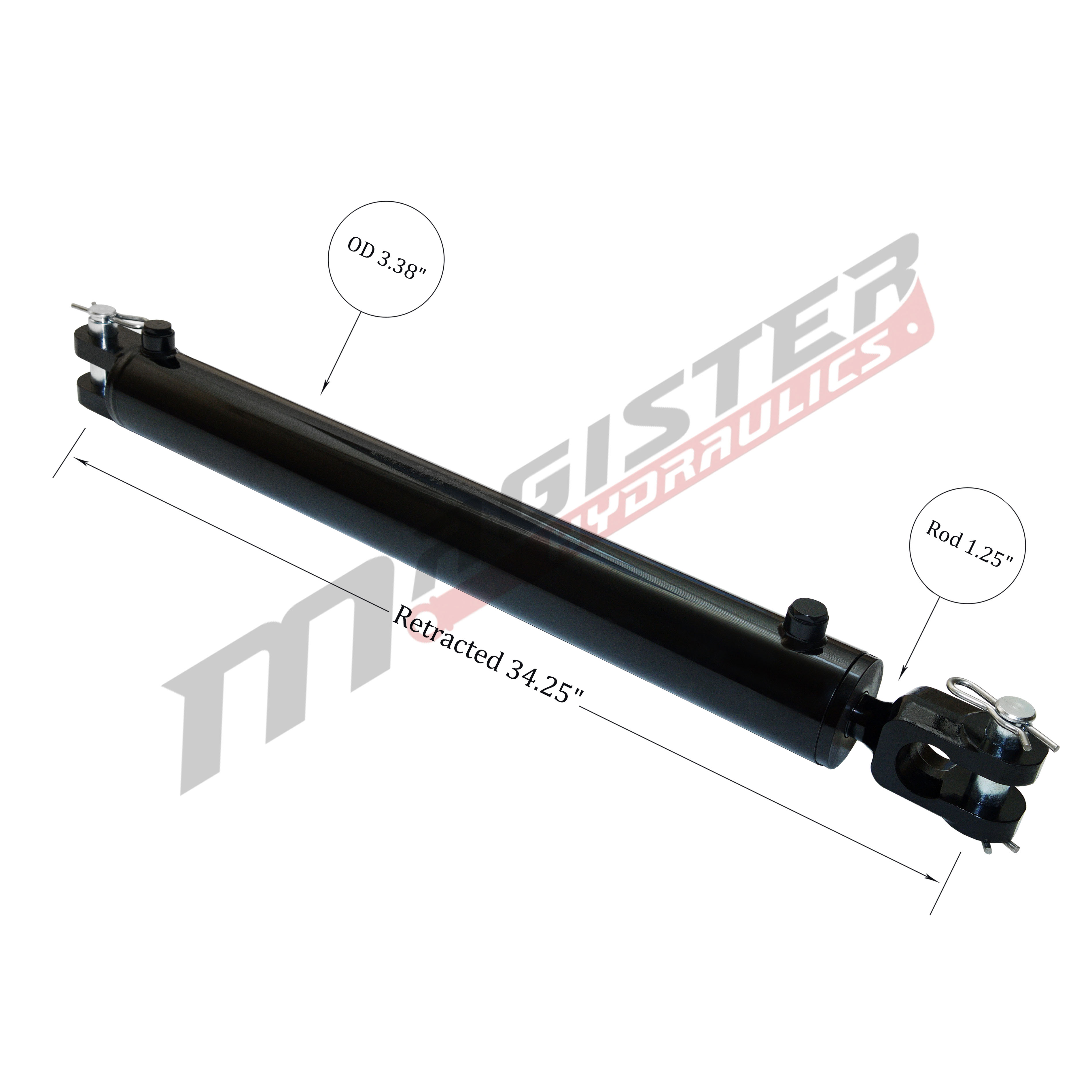 3 bore x 24 stroke hydraulic cylinder, ag clevis double acting cylinder | Magister Hydraulics
