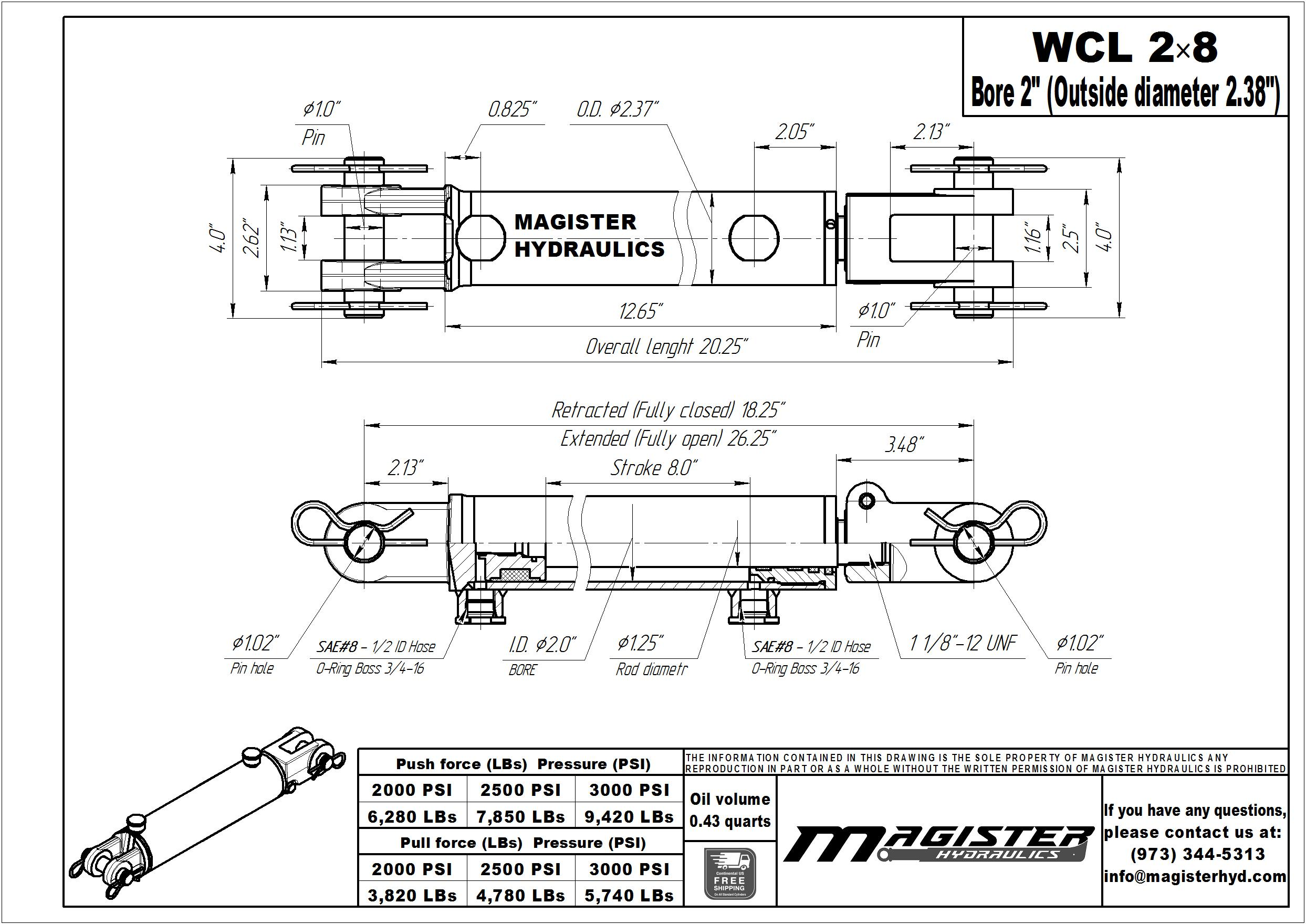 2 bore x 8 stroke hydraulic cylinder, welded clevis double acting cylinder | Magister Hydraulics