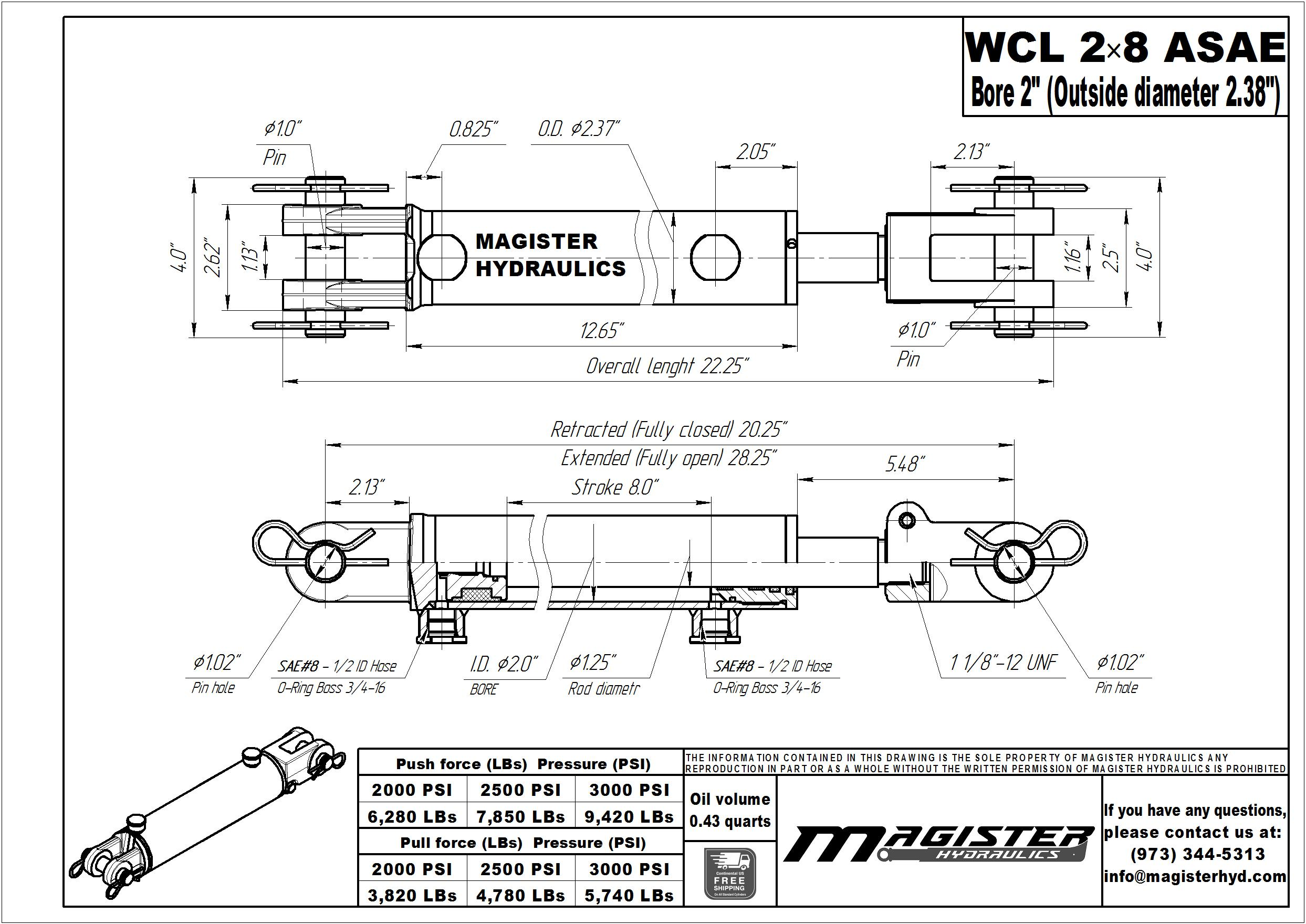 2 bore x 8 ASAE stroke hydraulic cylinder, welded clevis double acting cylinder | Magister Hydraulics