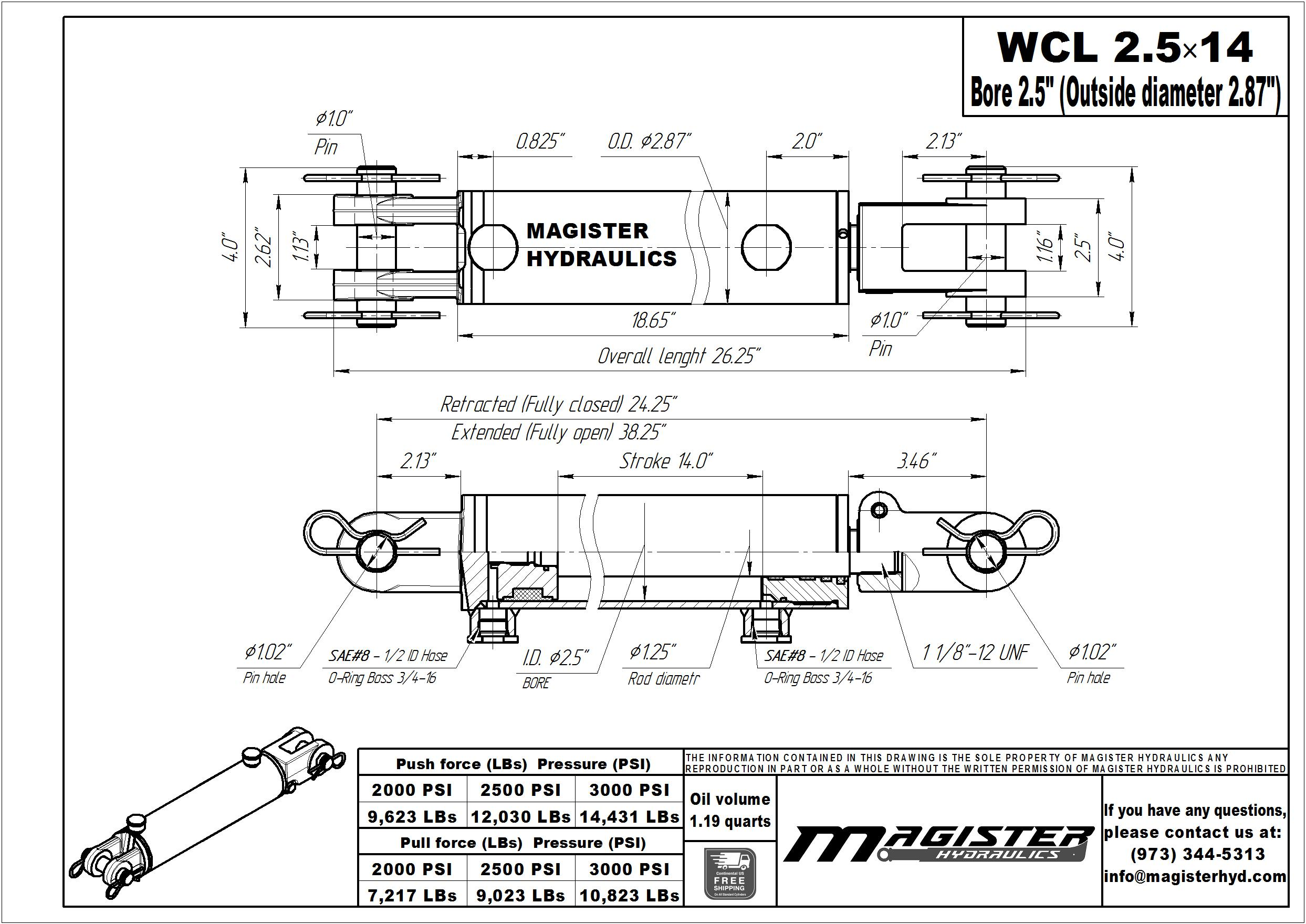 2.5 bore x 14 stroke hydraulic cylinder, welded clevis double acting cylinder   Magister Hydraulics