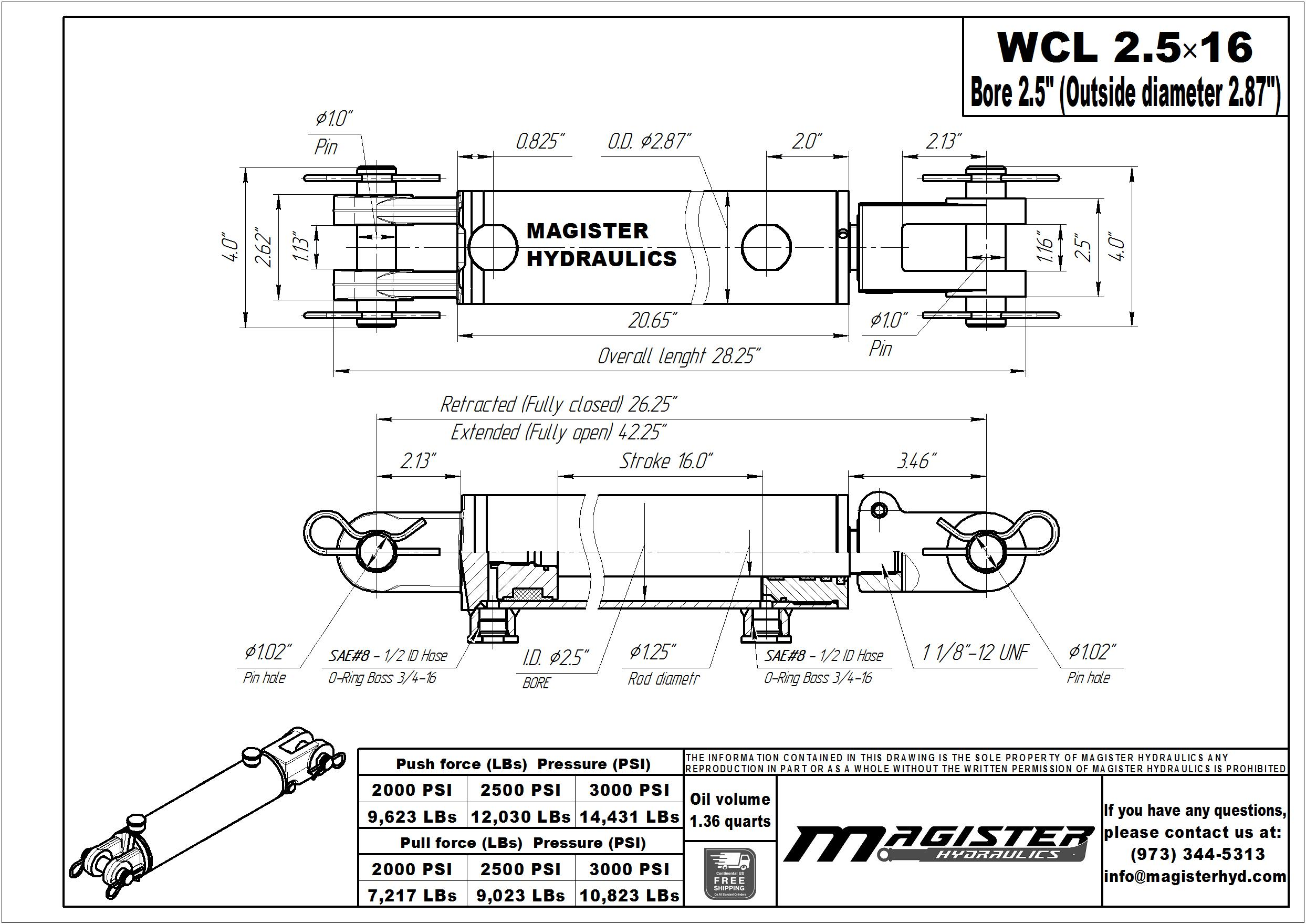 2.5 bore x 16 stroke hydraulic cylinder, welded clevis double acting cylinder   Magister Hydraulics