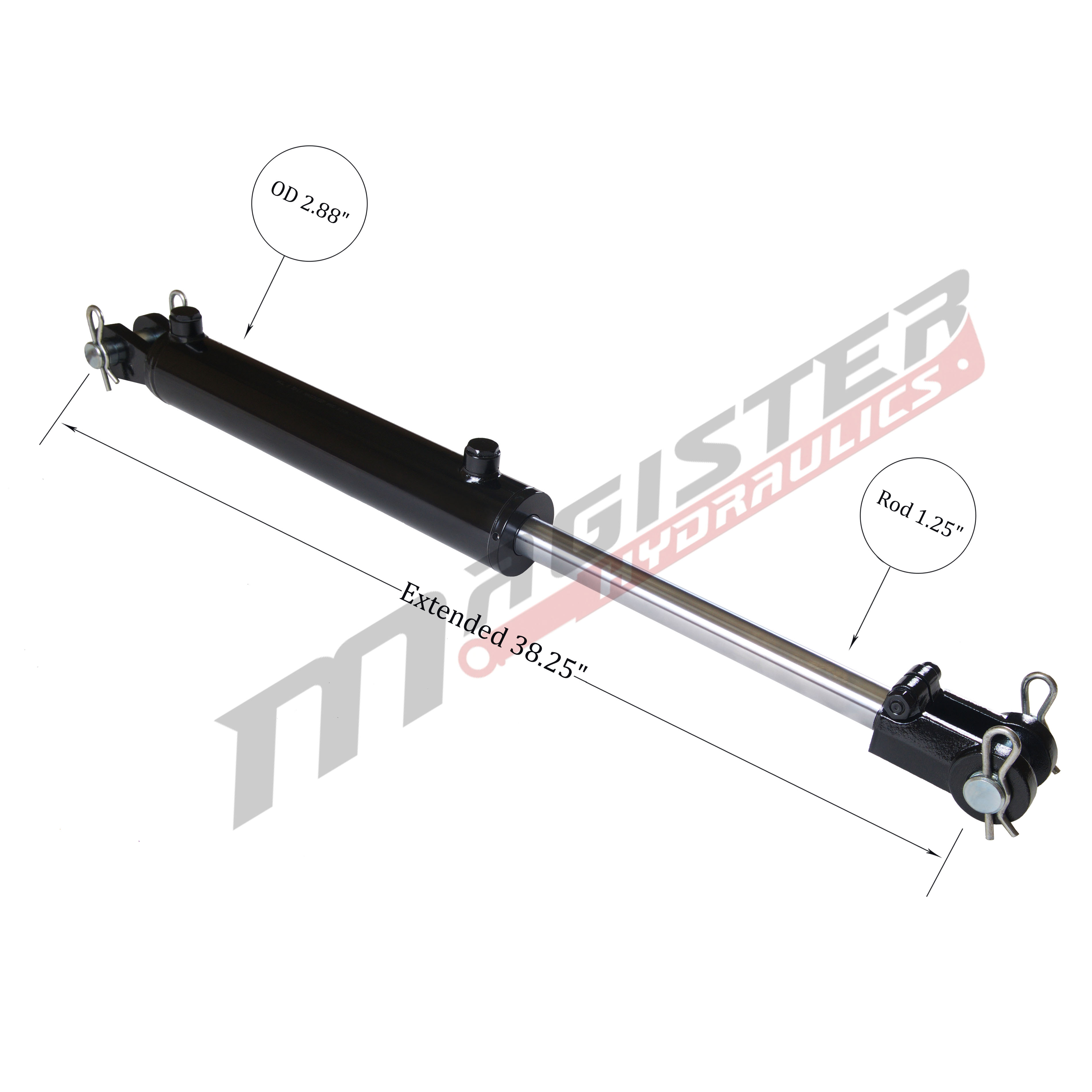 2.5 bore x 14 stroke hydraulic cylinder, welded clevis double acting cylinder | Magister Hydraulics