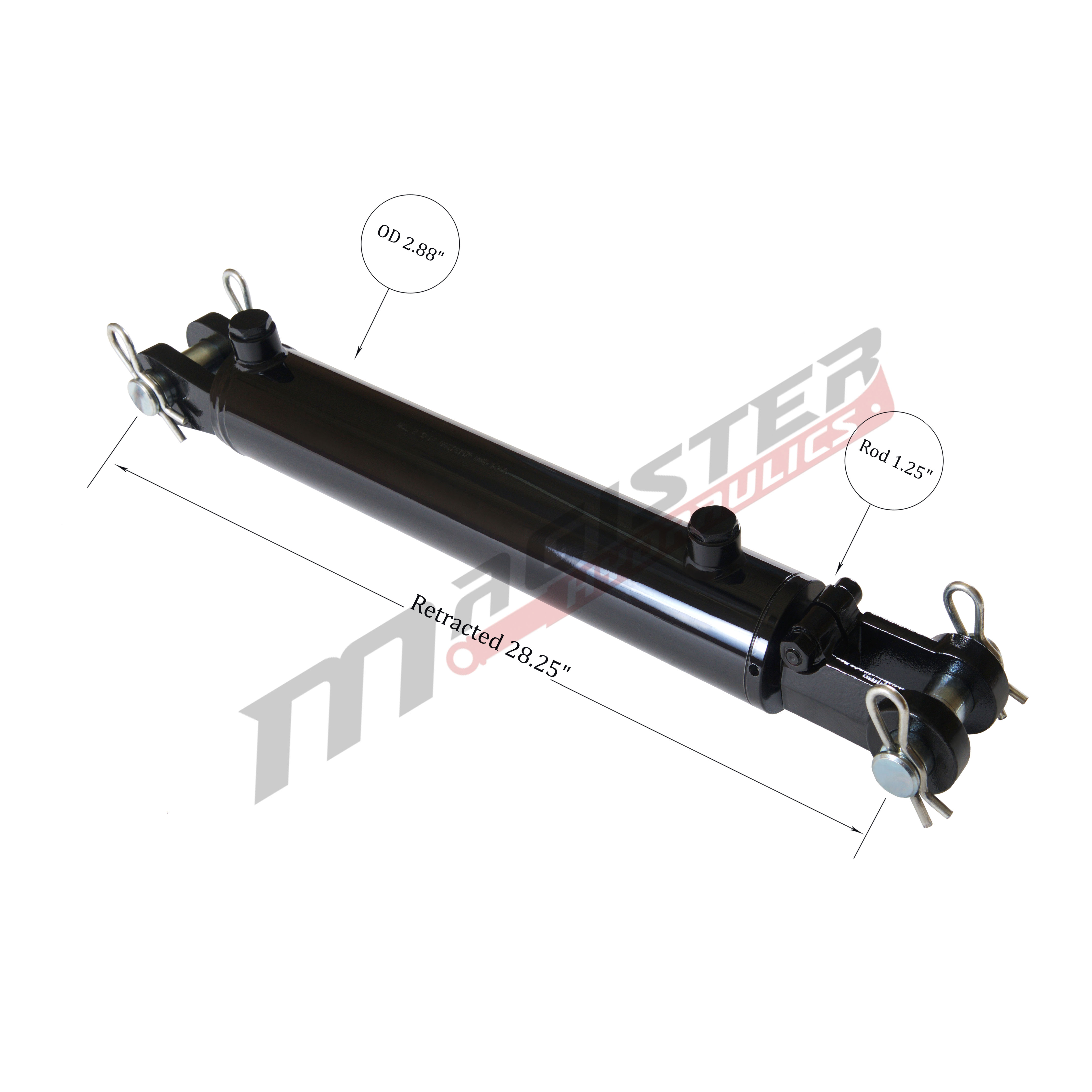 2.5 bore x 18 stroke hydraulic cylinder, welded clevis double acting cylinder   Magister Hydraulics