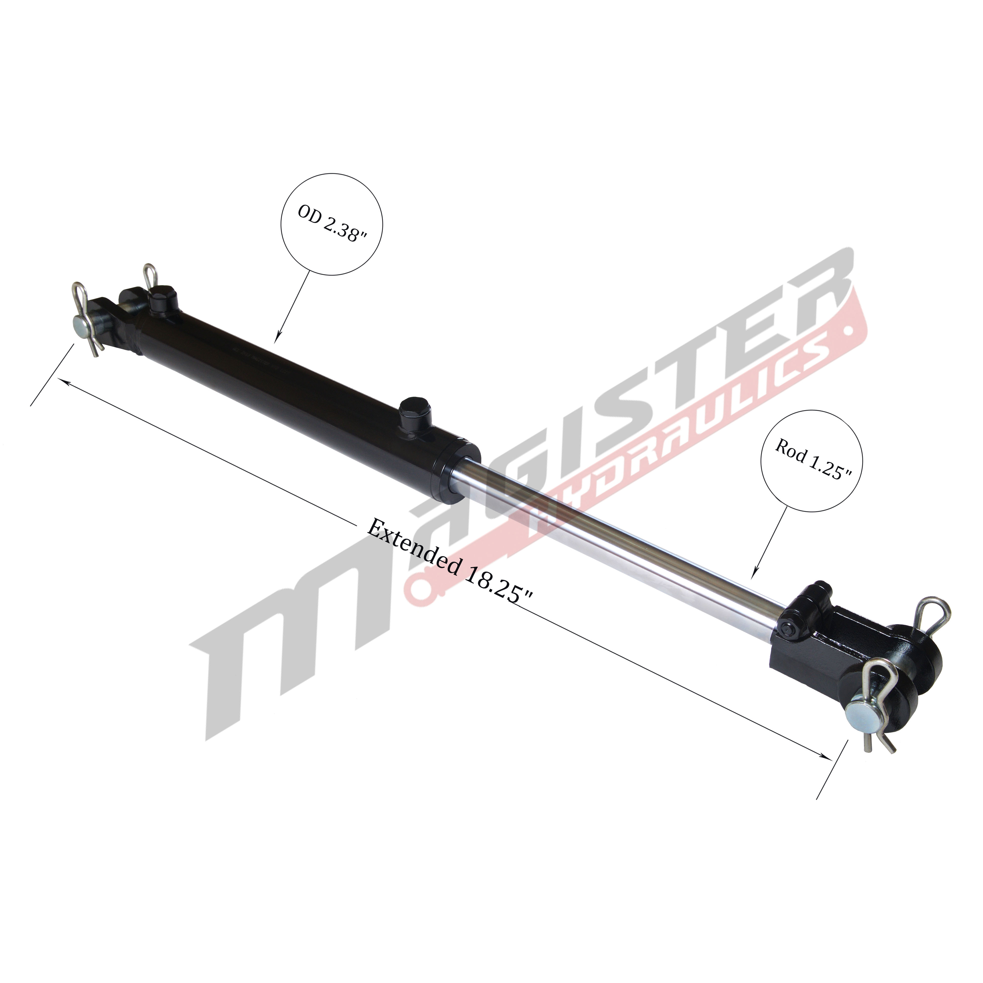 2 bore x 4 stroke hydraulic cylinder, welded clevis double acting cylinder | Magister Hydraulics