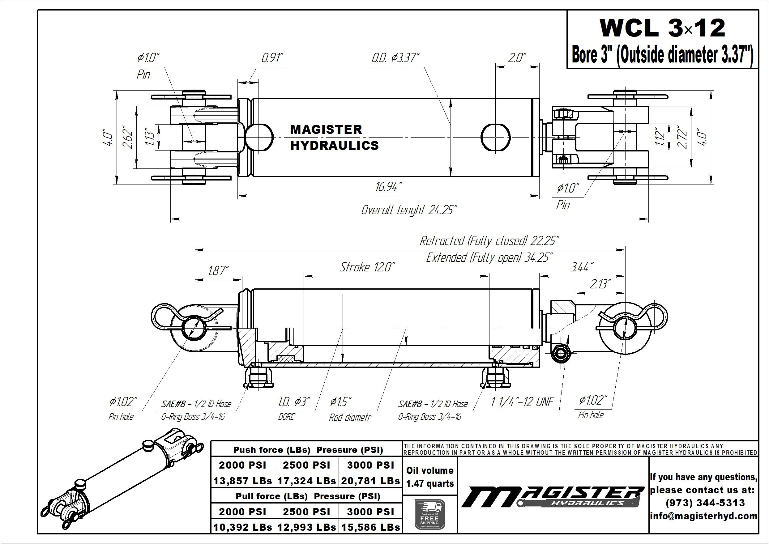 3 bore x 12 stroke hydraulic cylinder, welded clevis double acting cylinder | Magister Hydraulics