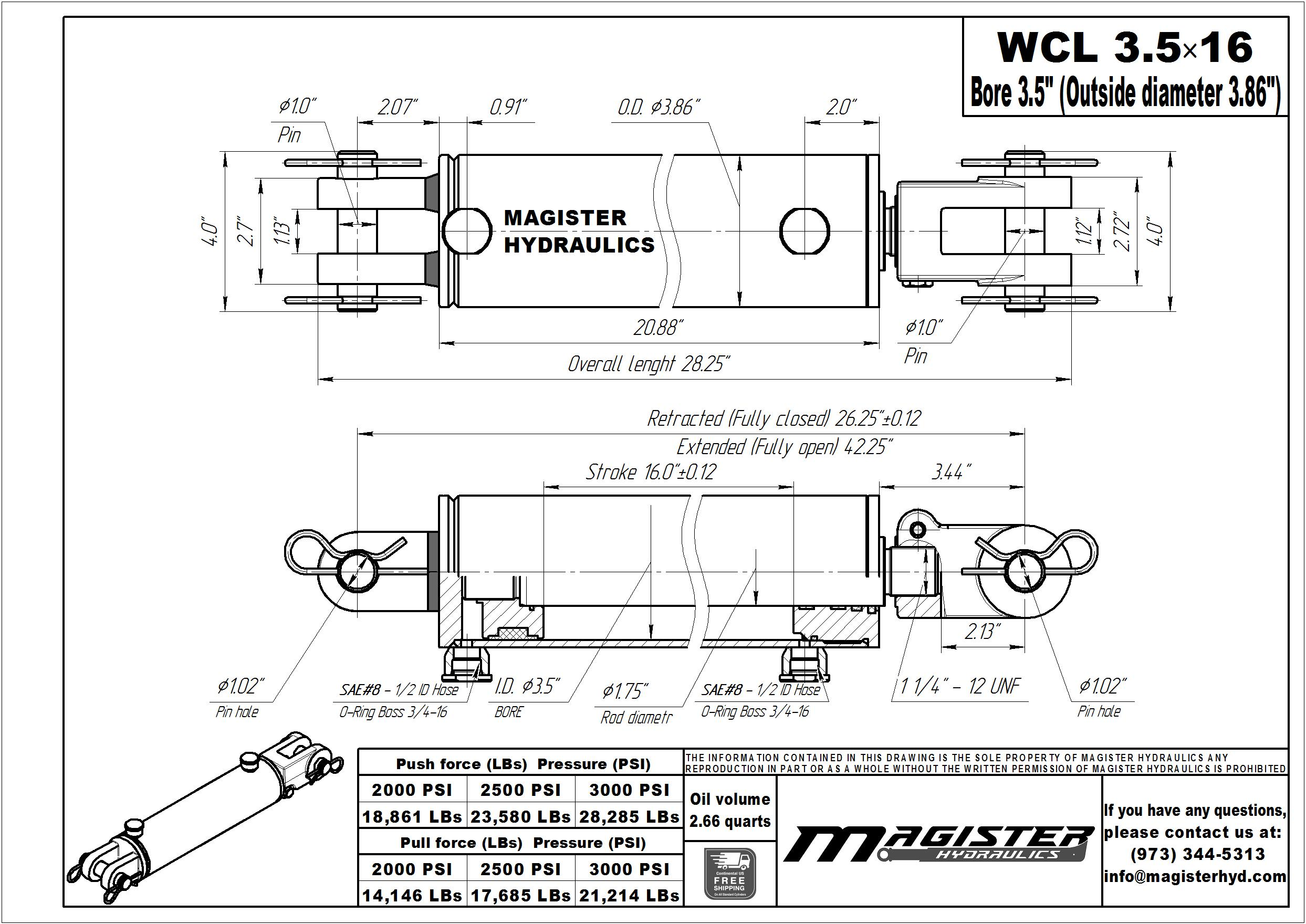 3.5 bore x 16 stroke hydraulic cylinder, welded clevis double acting cylinder | Magister Hydraulics