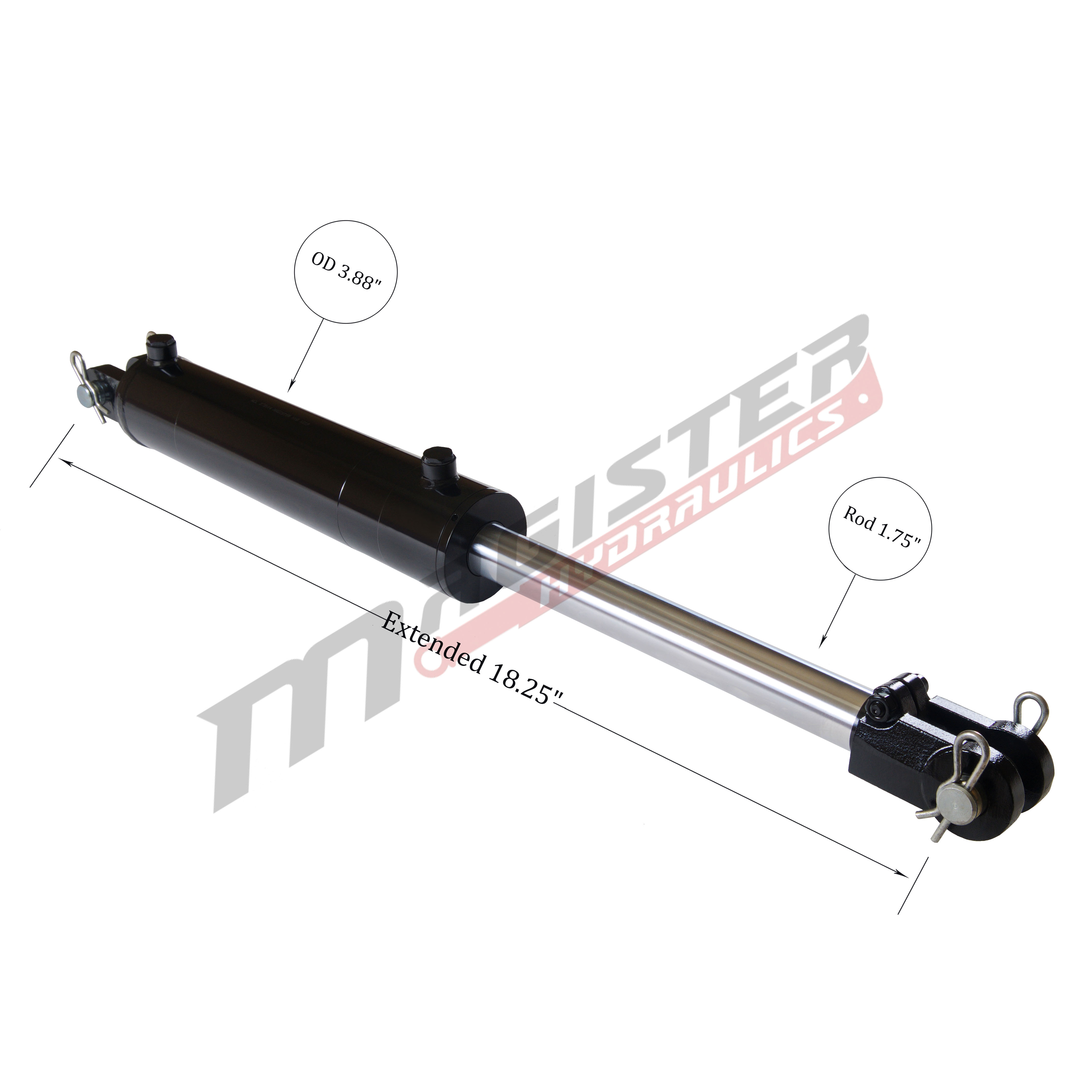 3.5 bore x 4 stroke hydraulic cylinder, welded clevis double acting cylinder | Magister Hydraulics