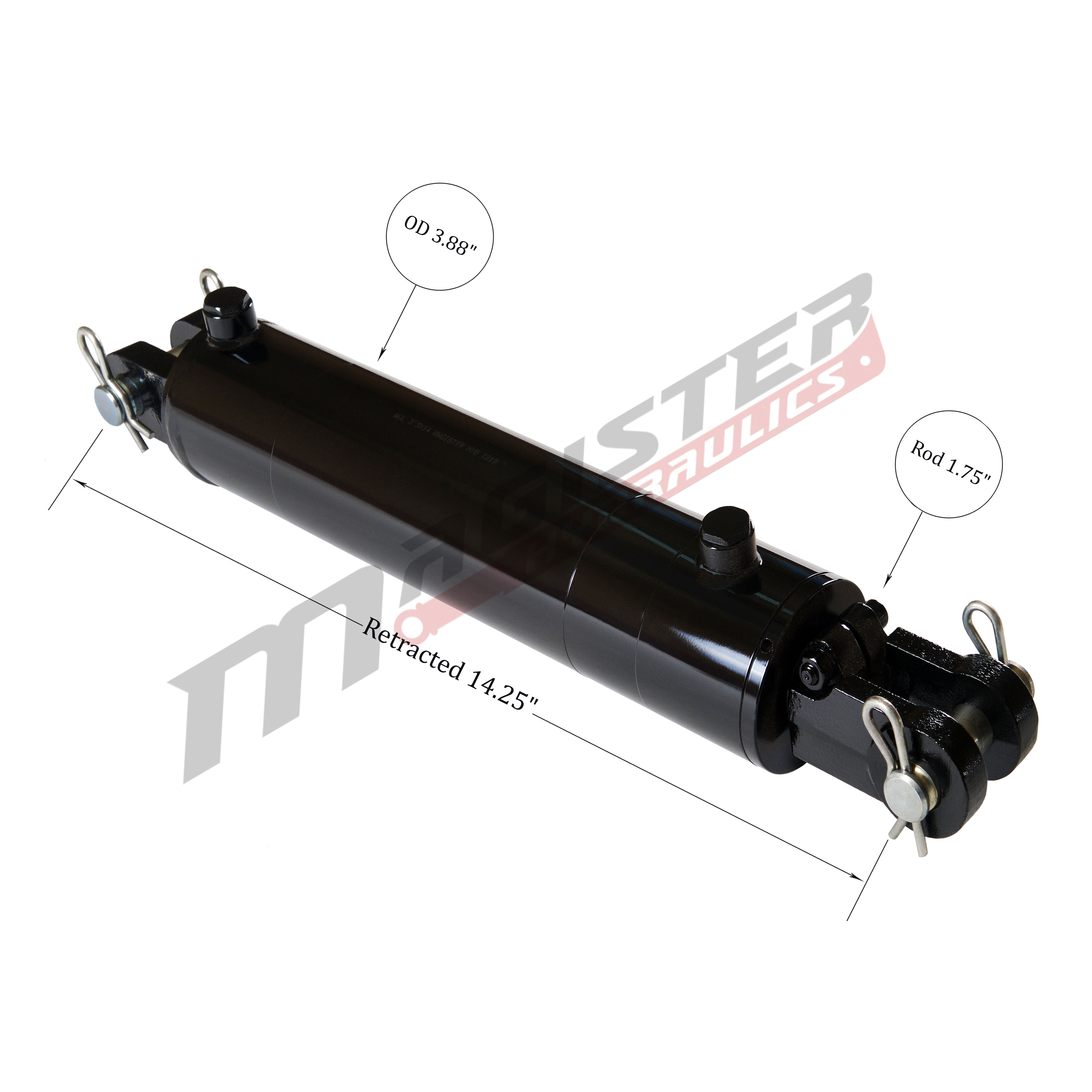 3.5 bore x 4 stroke hydraulic cylinder, welded clevis double acting cylinder   Magister Hydraulics