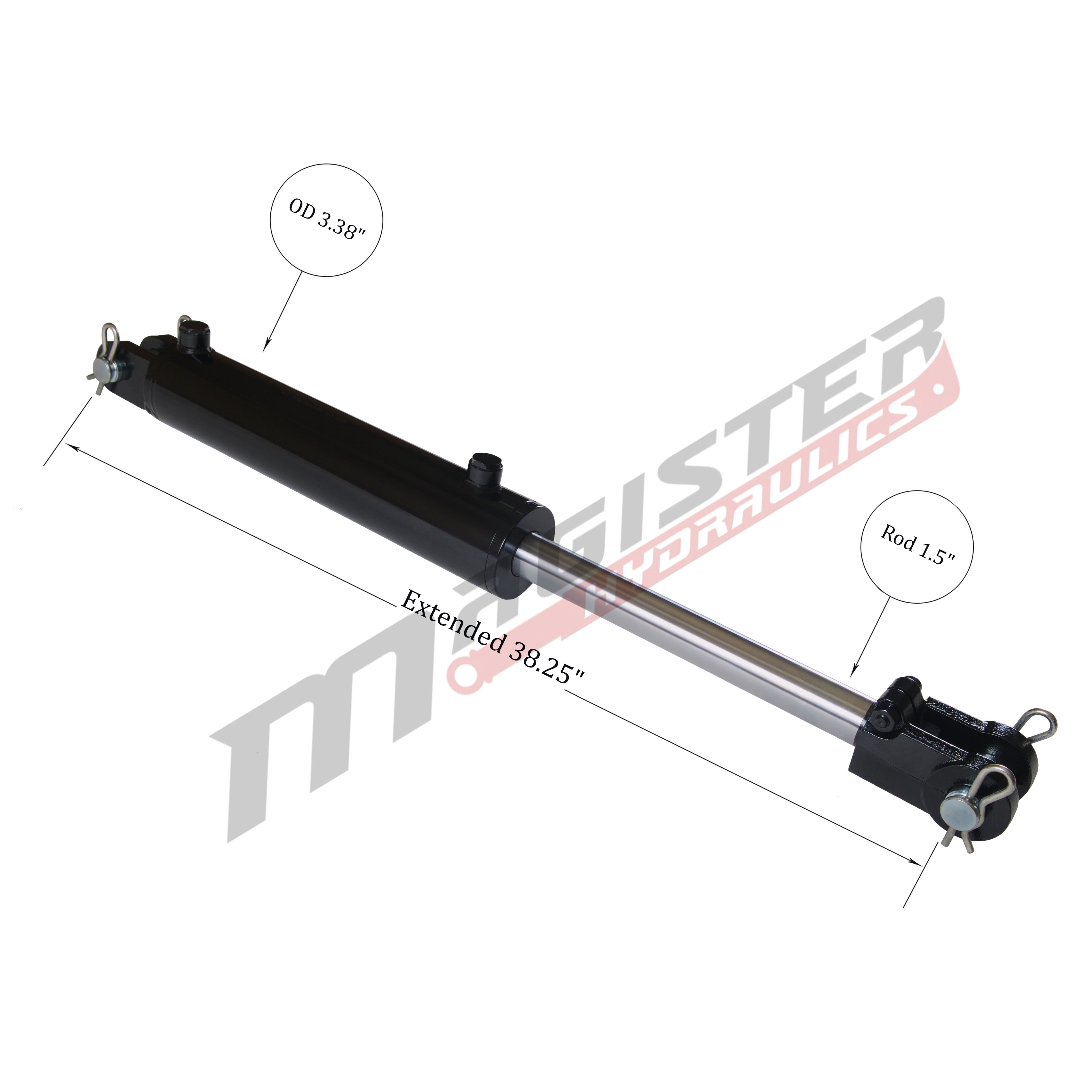 3 bore x 14 stroke hydraulic cylinder, welded clevis double acting cylinder | Magister Hydraulics