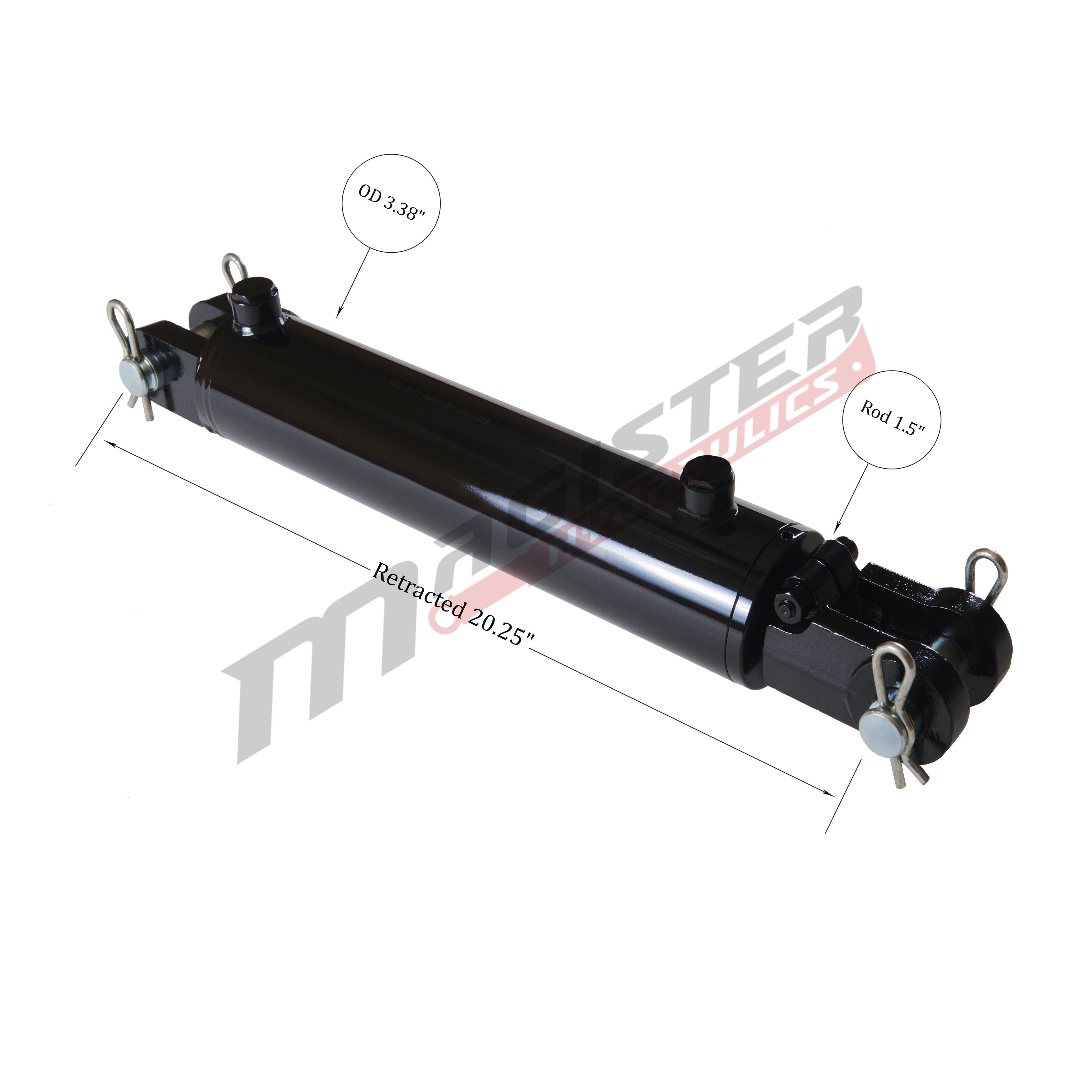 3 bore x 8 ASAE stroke hydraulic cylinder, welded clevis double acting cylinder | Magister Hydraulics