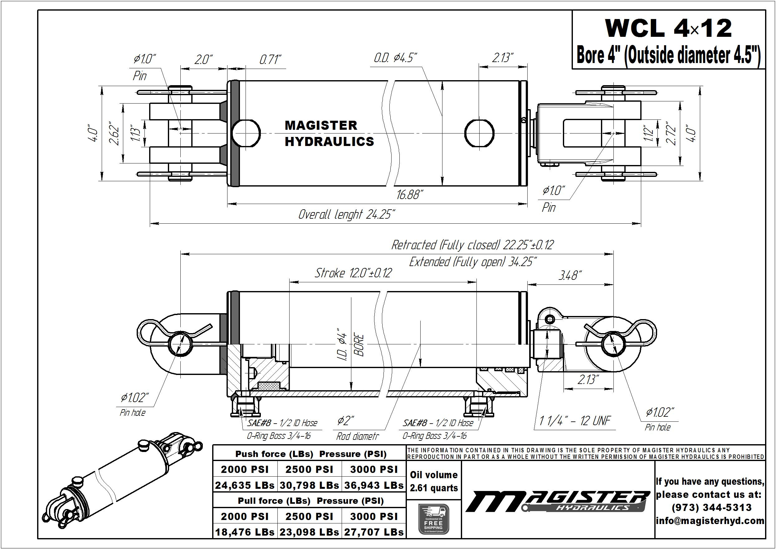 4 bore x 12 stroke hydraulic cylinder, welded clevis double acting cylinder | Magister Hydraulics