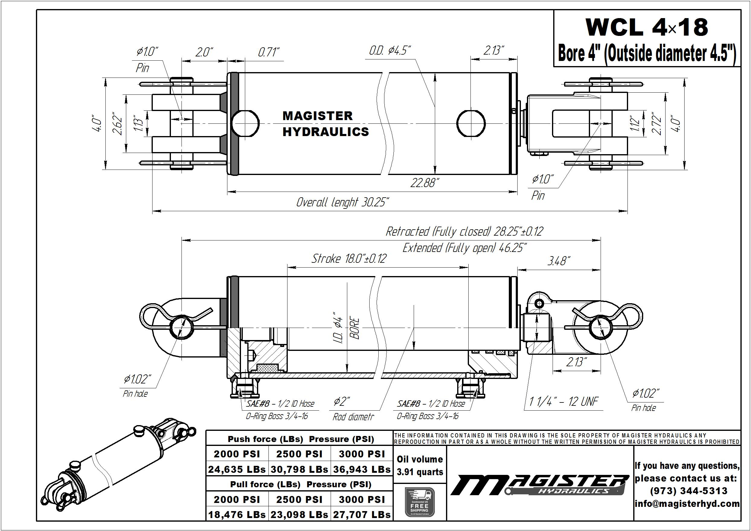 4 bore x 18 stroke hydraulic cylinder, welded clevis double acting cylinder | Magister Hydraulics