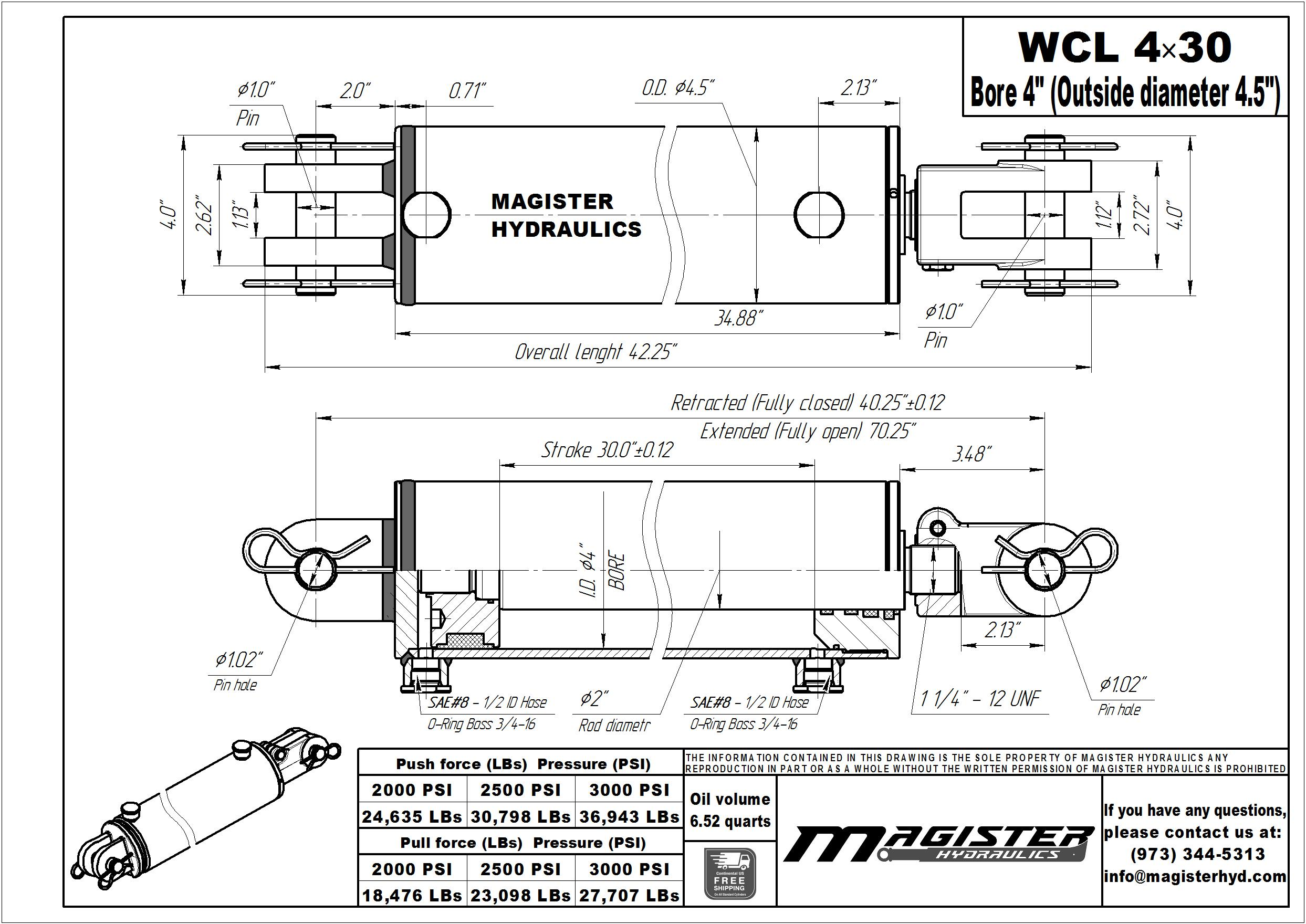 4 bore x 30 stroke hydraulic cylinder, welded clevis double acting cylinder | Magister Hydraulics