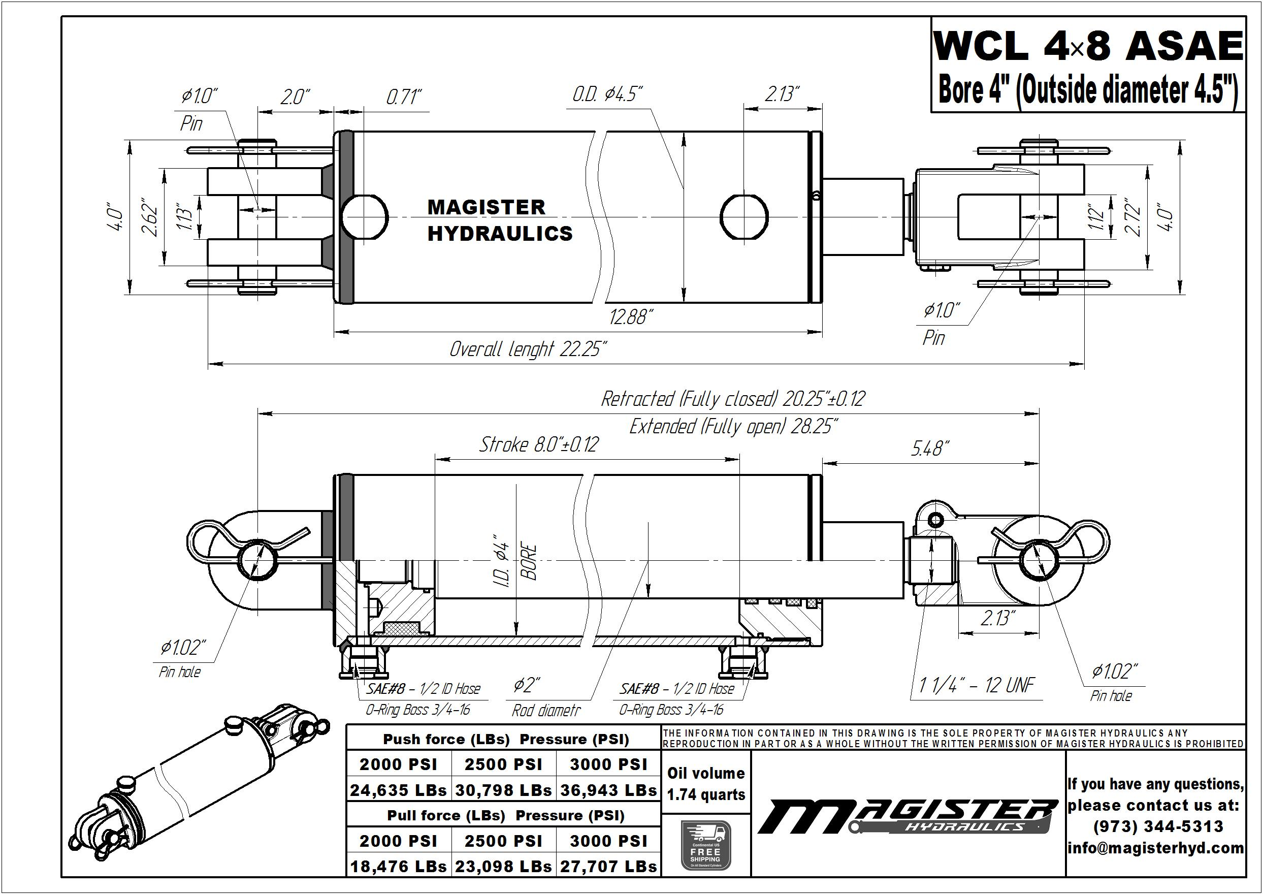 4 bore x 8 ASAE stroke hydraulic cylinder, welded clevis double acting cylinder | Magister Hydraulics