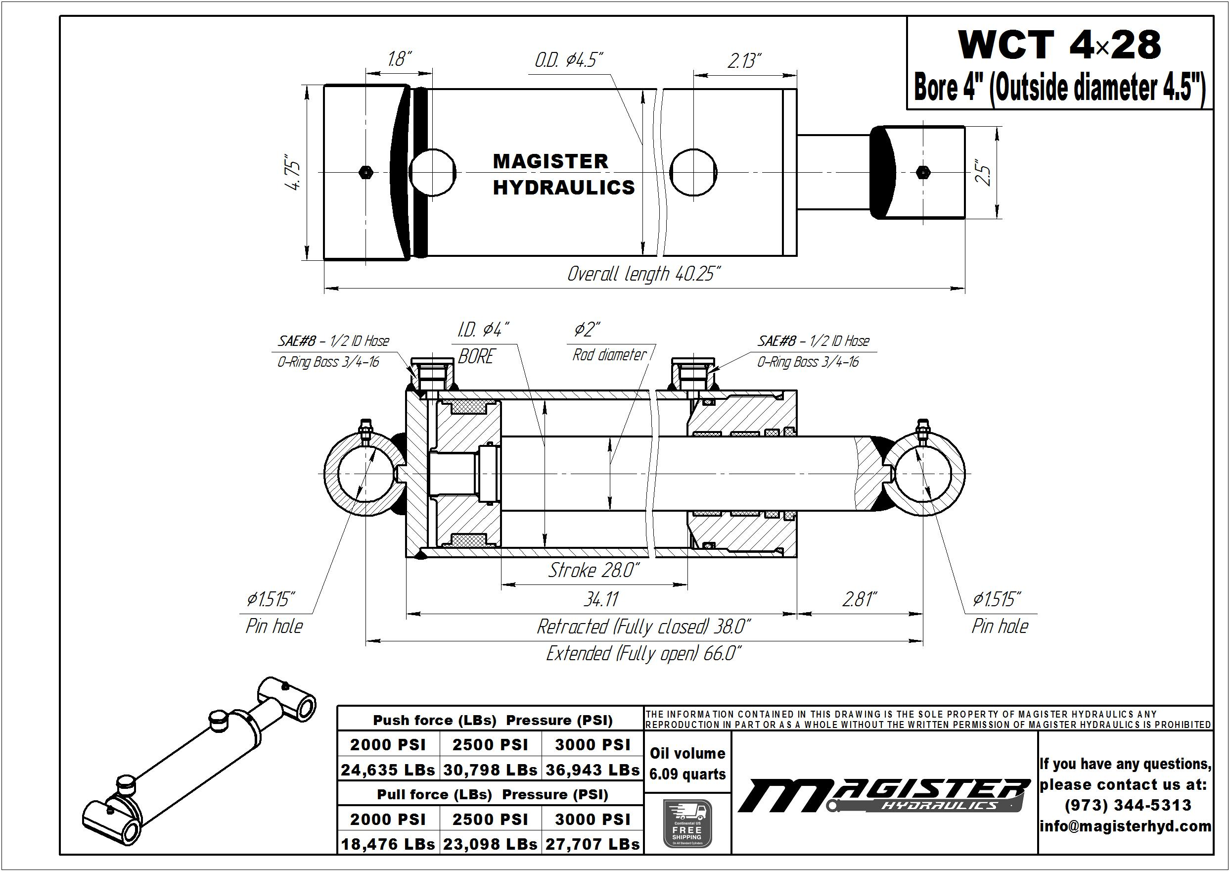 4 bore x 28 stroke hydraulic cylinder, welded cross tube double acting cylinder   Magister Hydraulics