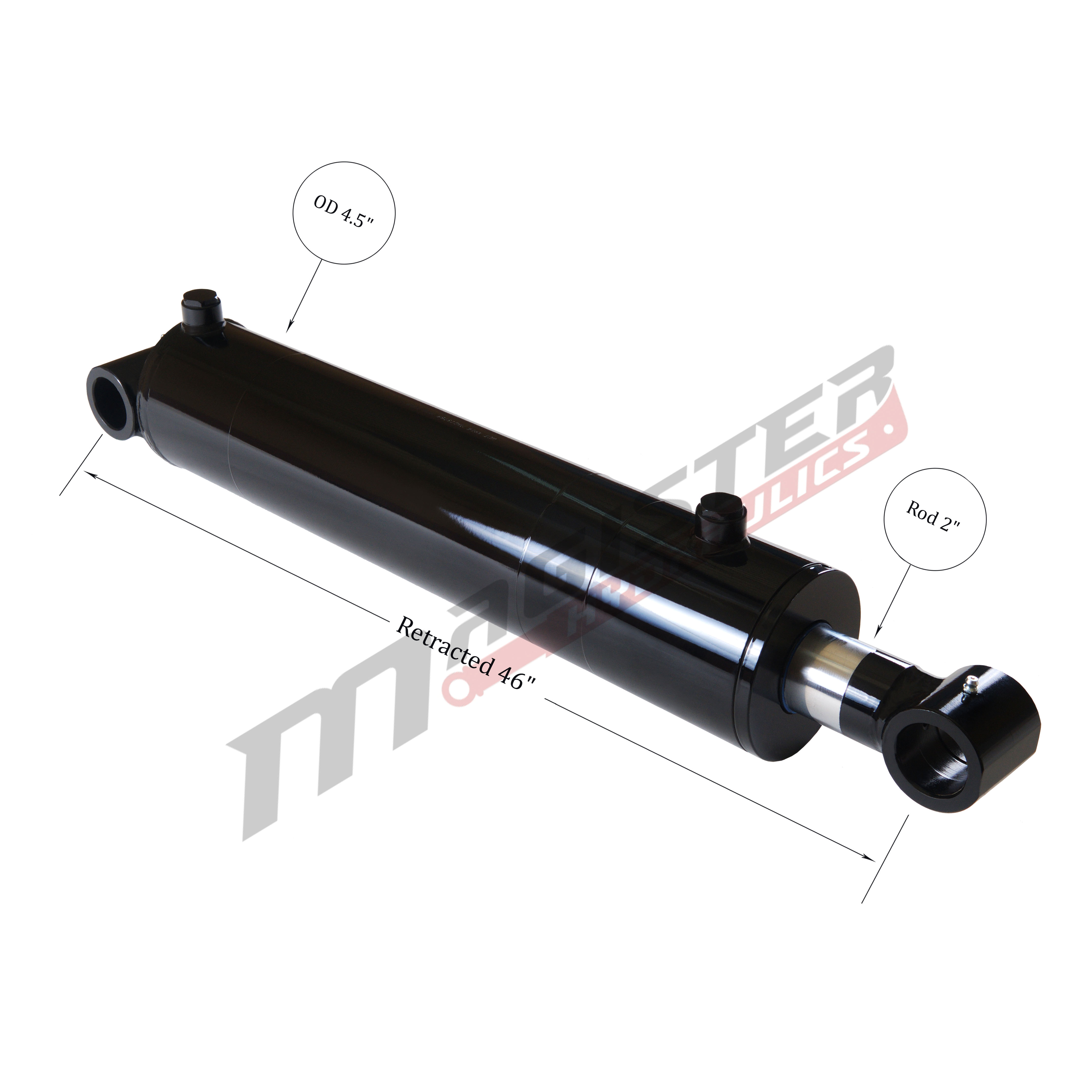 4 bore x 36 stroke hydraulic cylinder, welded cross tube double acting cylinder | Magister Hydraulics