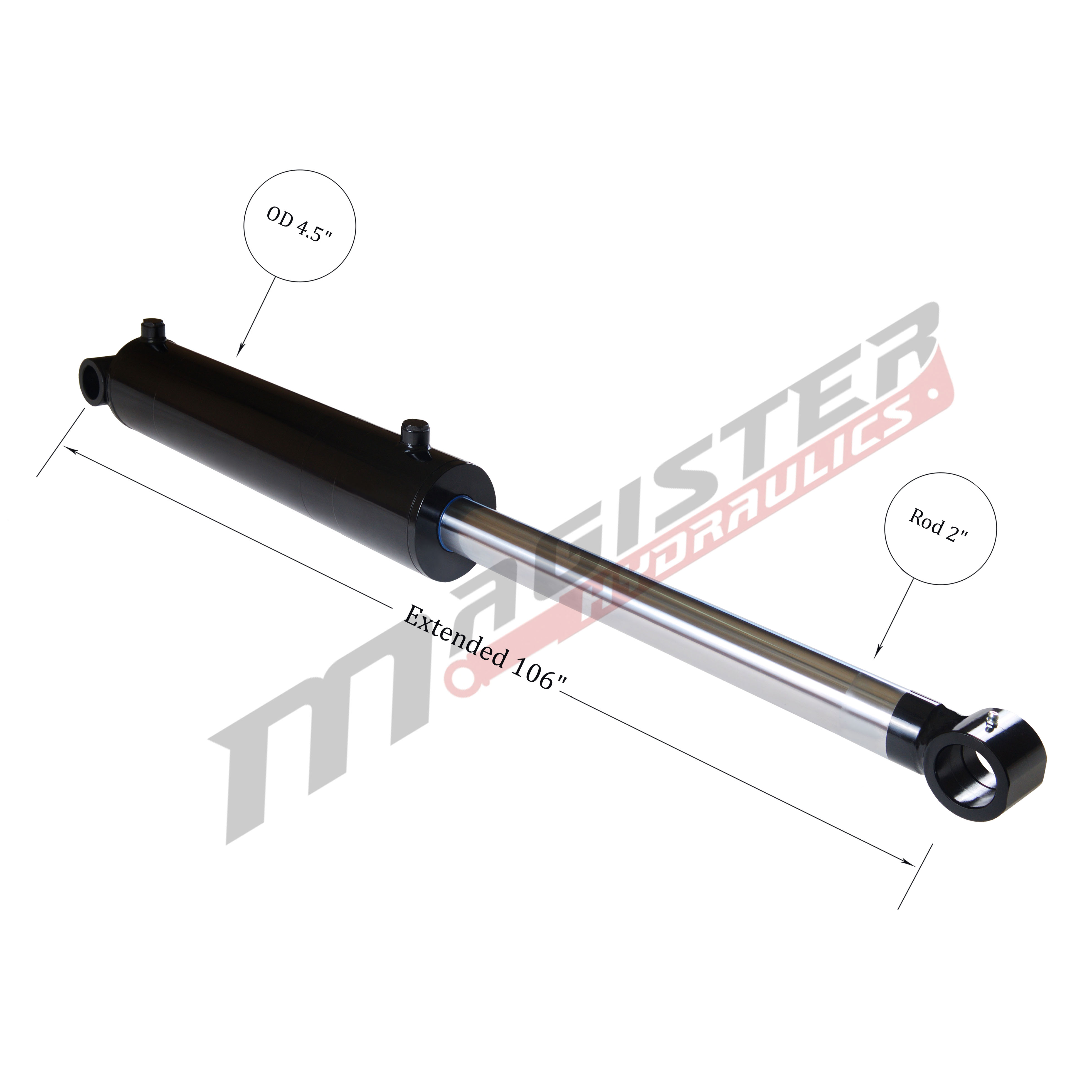4 bore x 48 stroke hydraulic cylinder, welded cross tube double acting cylinder   Magister Hydraulics